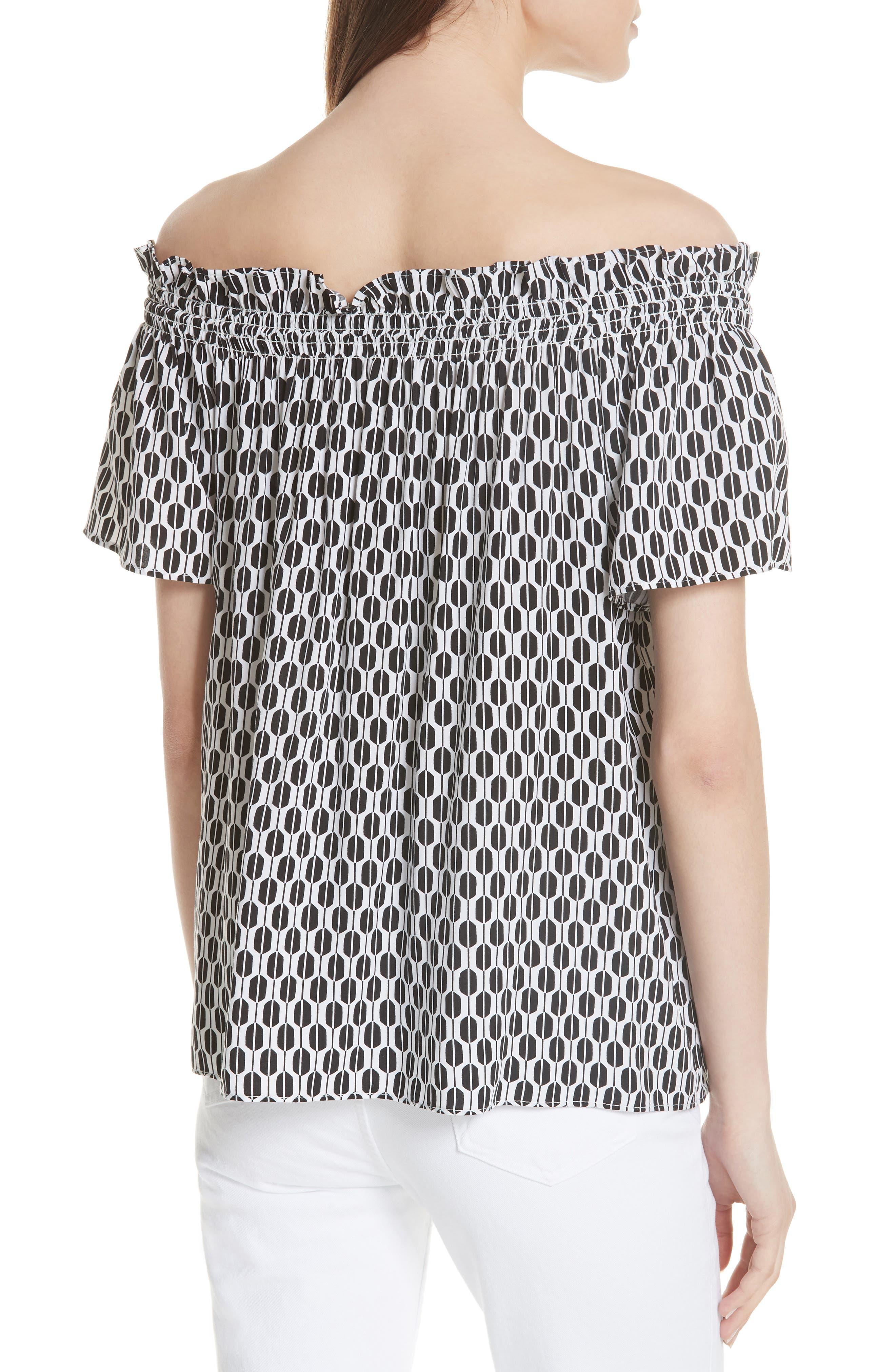 arrow stripe off the shoulder top,                             Alternate thumbnail 2, color,                             Fresh White/ Black