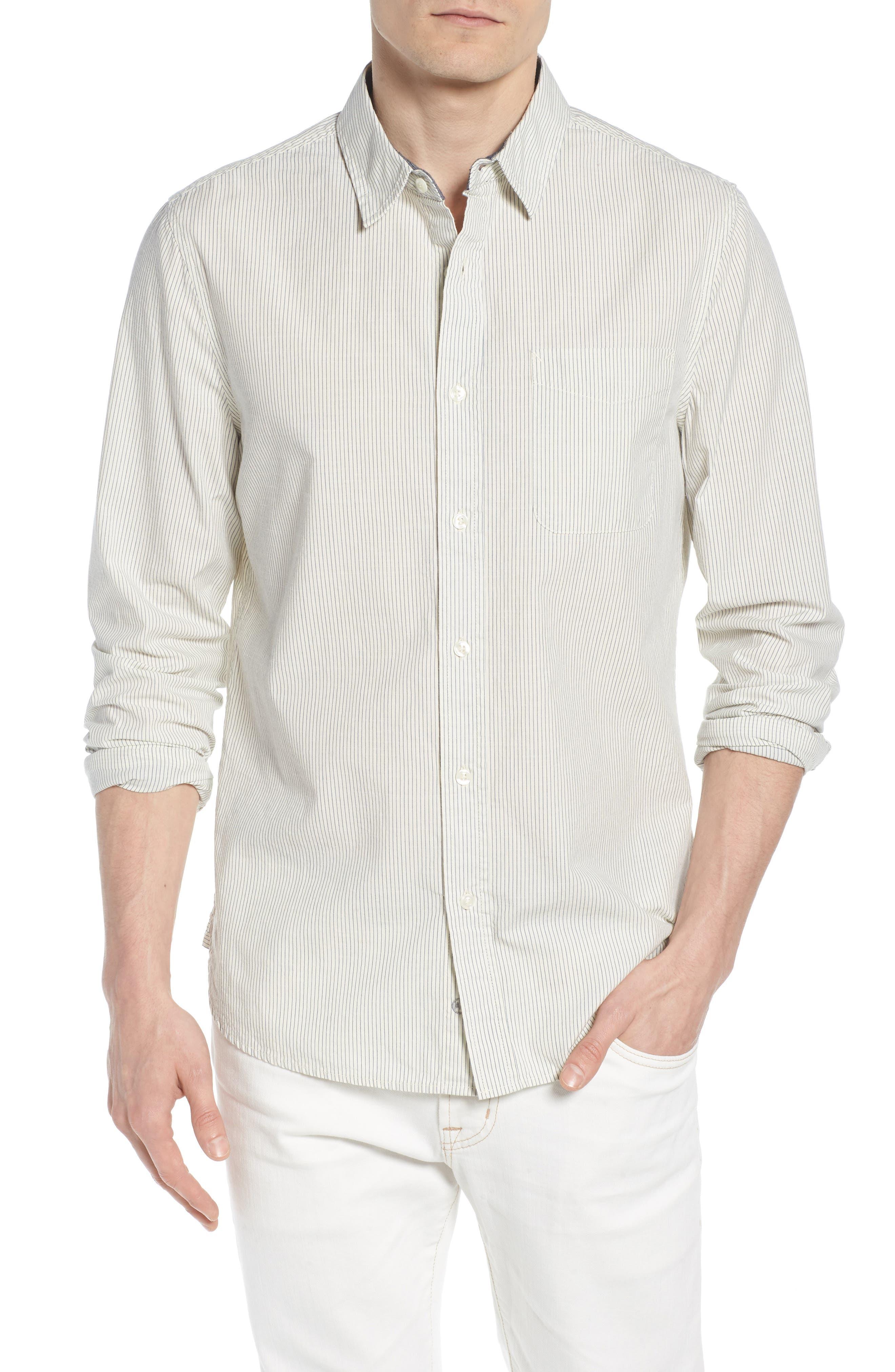 Colton Regular Fit Stripe Sport Shirt,                             Main thumbnail 1, color,                             Natural/Mosaic Blue