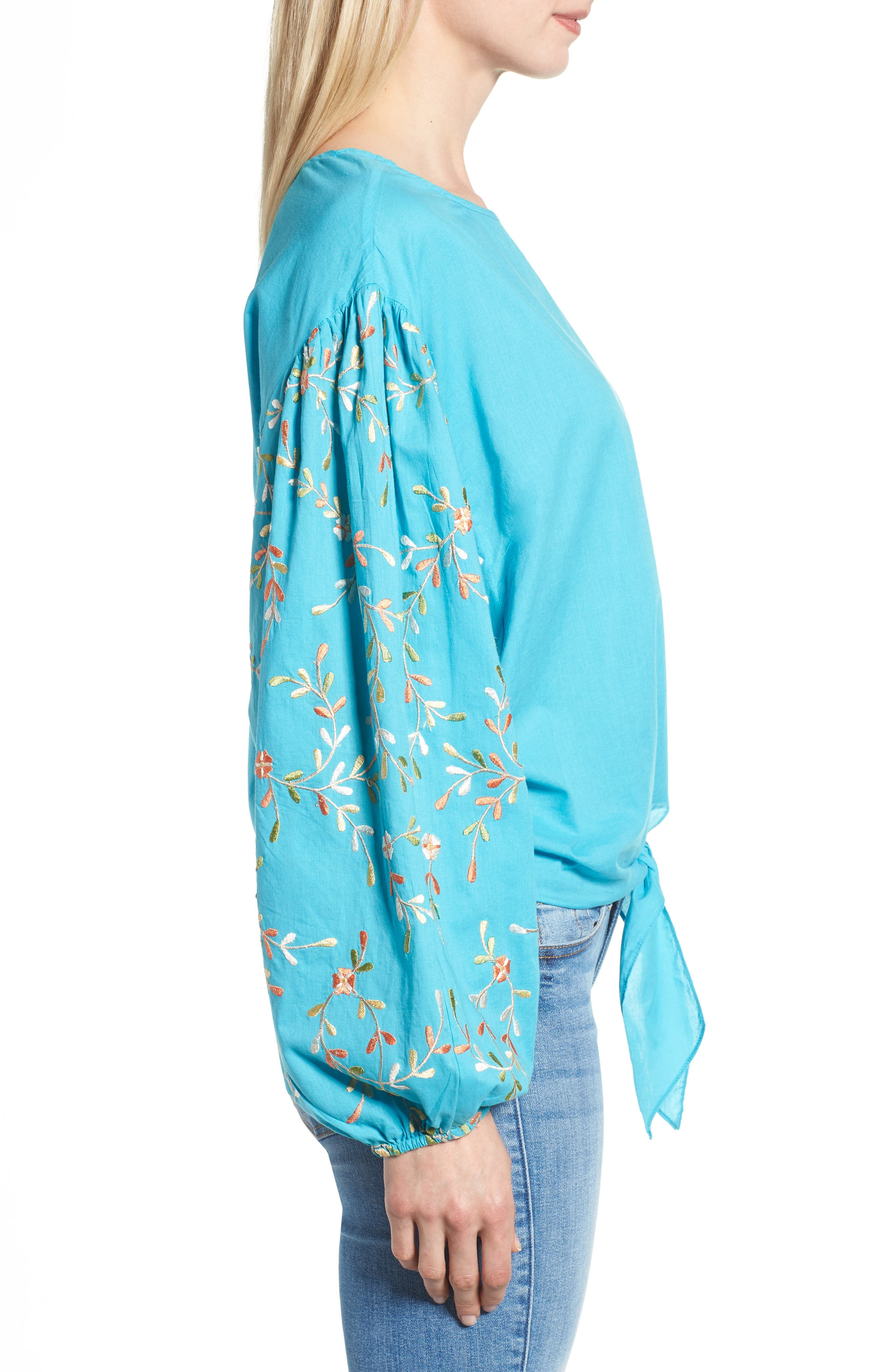 Coline Front Tie Embroidered Sleeve Blouse,                             Alternate thumbnail 3, color,                             Turquoise