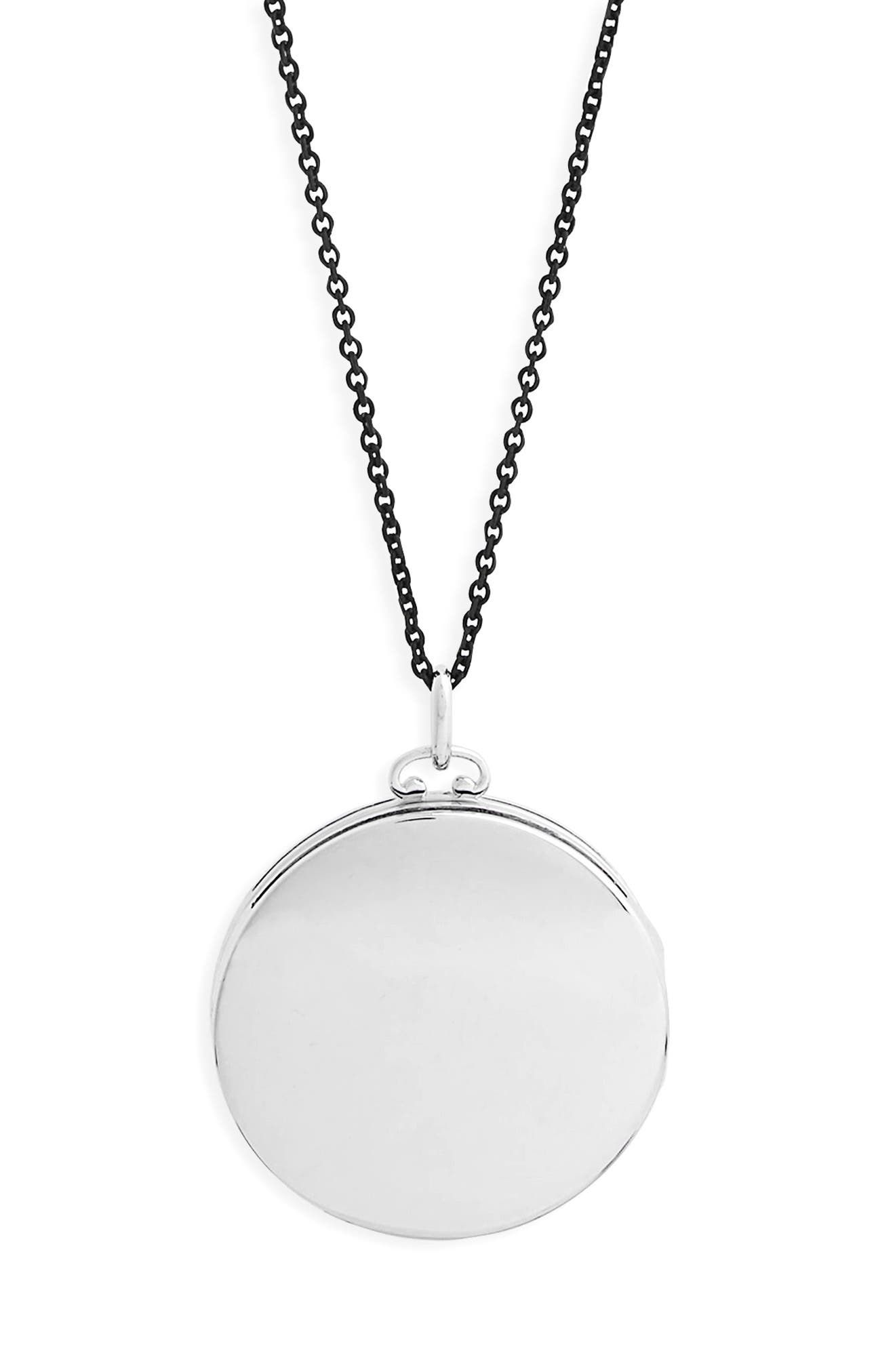 Round Dome Locket Necklace,                             Alternate thumbnail 2, color,                             Sterling Silver/ Black Steel
