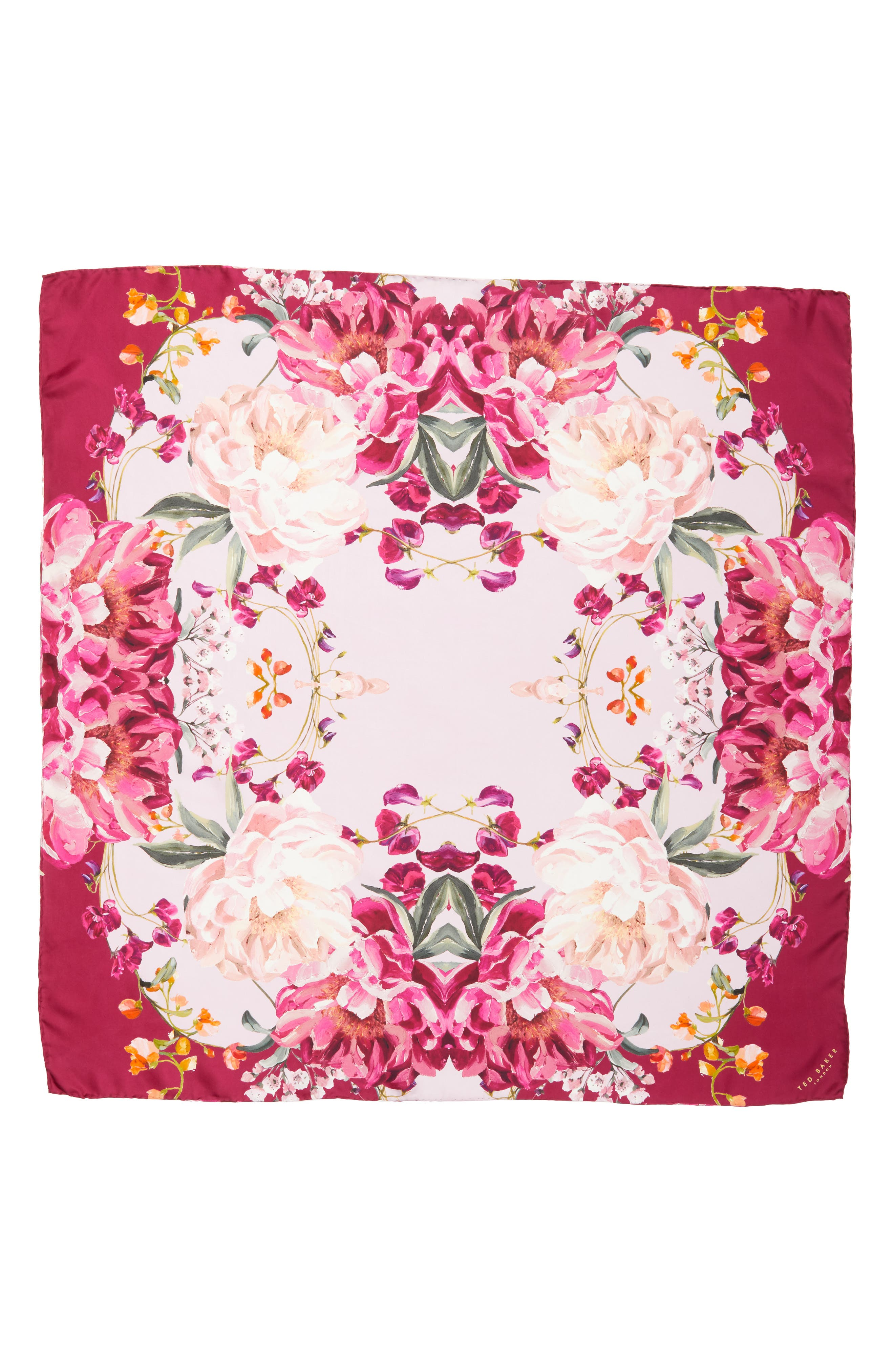 Serenity Square Silk Scarf,                             Alternate thumbnail 3, color,                             Pale Pink