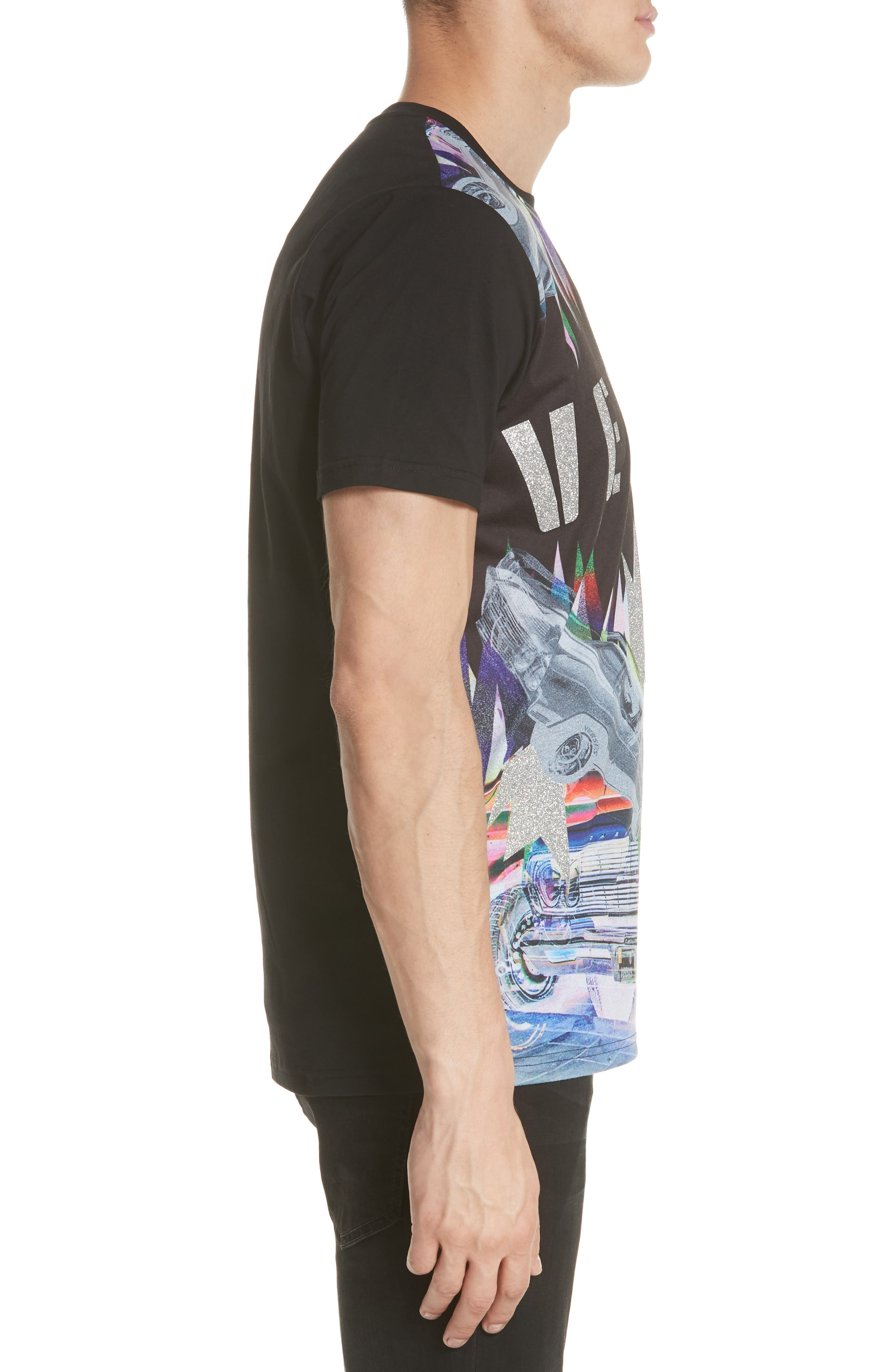 Uomo Print T-Shirt,                             Alternate thumbnail 3, color,                             Black/ Stampa