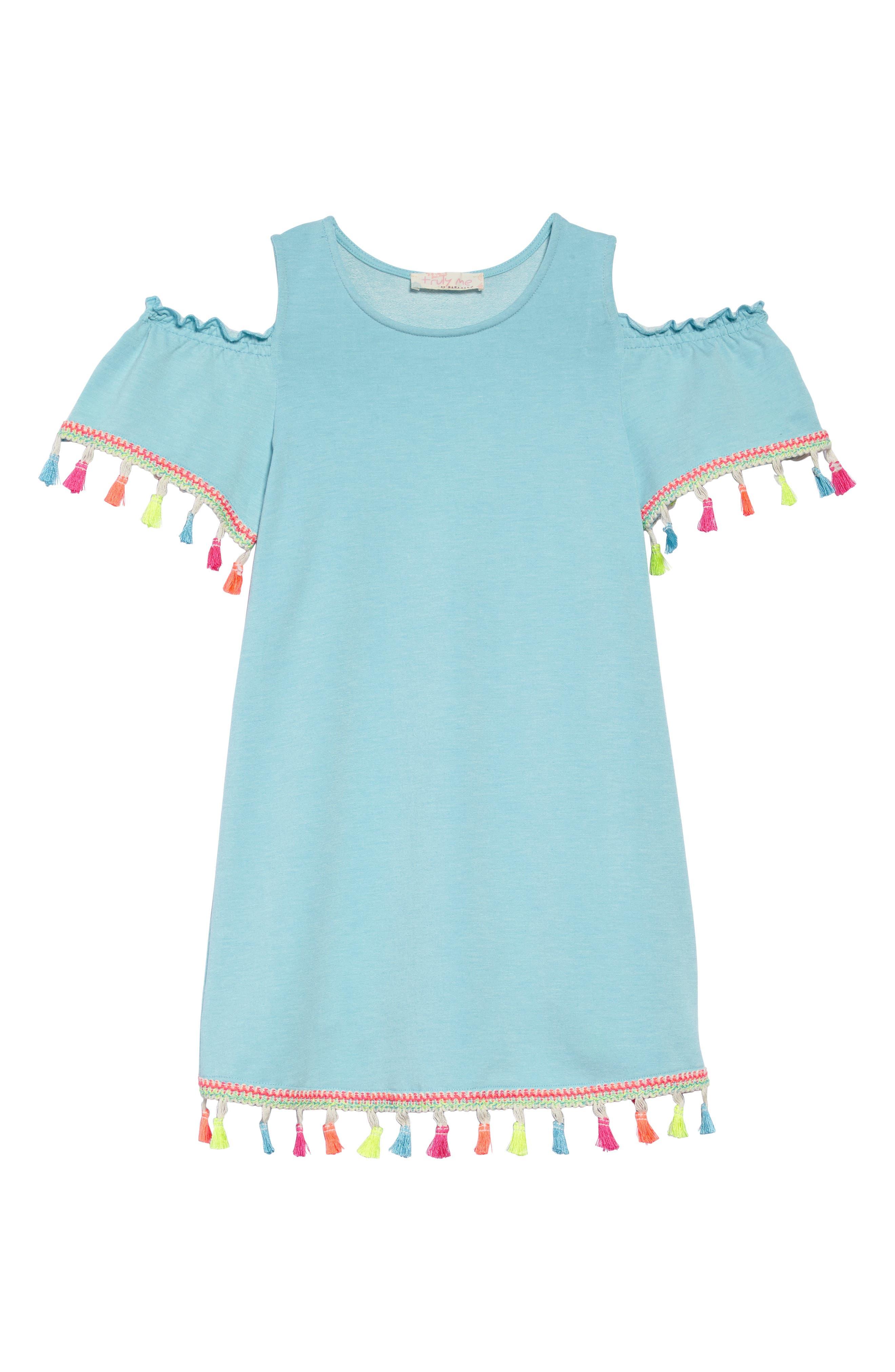 Tassel Cold Shoulder Dress,                             Main thumbnail 1, color,                             Blue