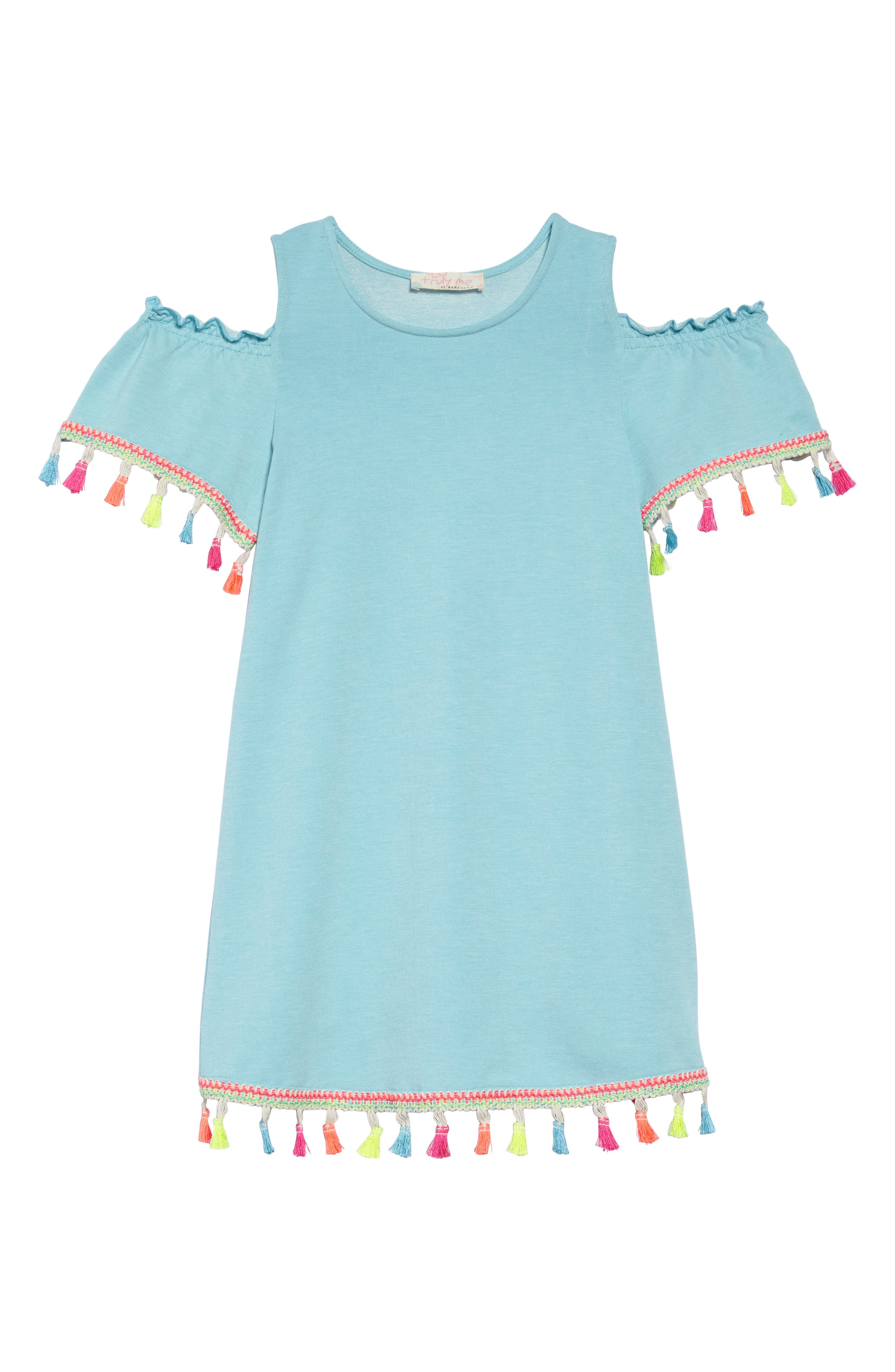 Truly Me Tassel Cold Shoulder Dress (Toddler Girls & Little Girls)