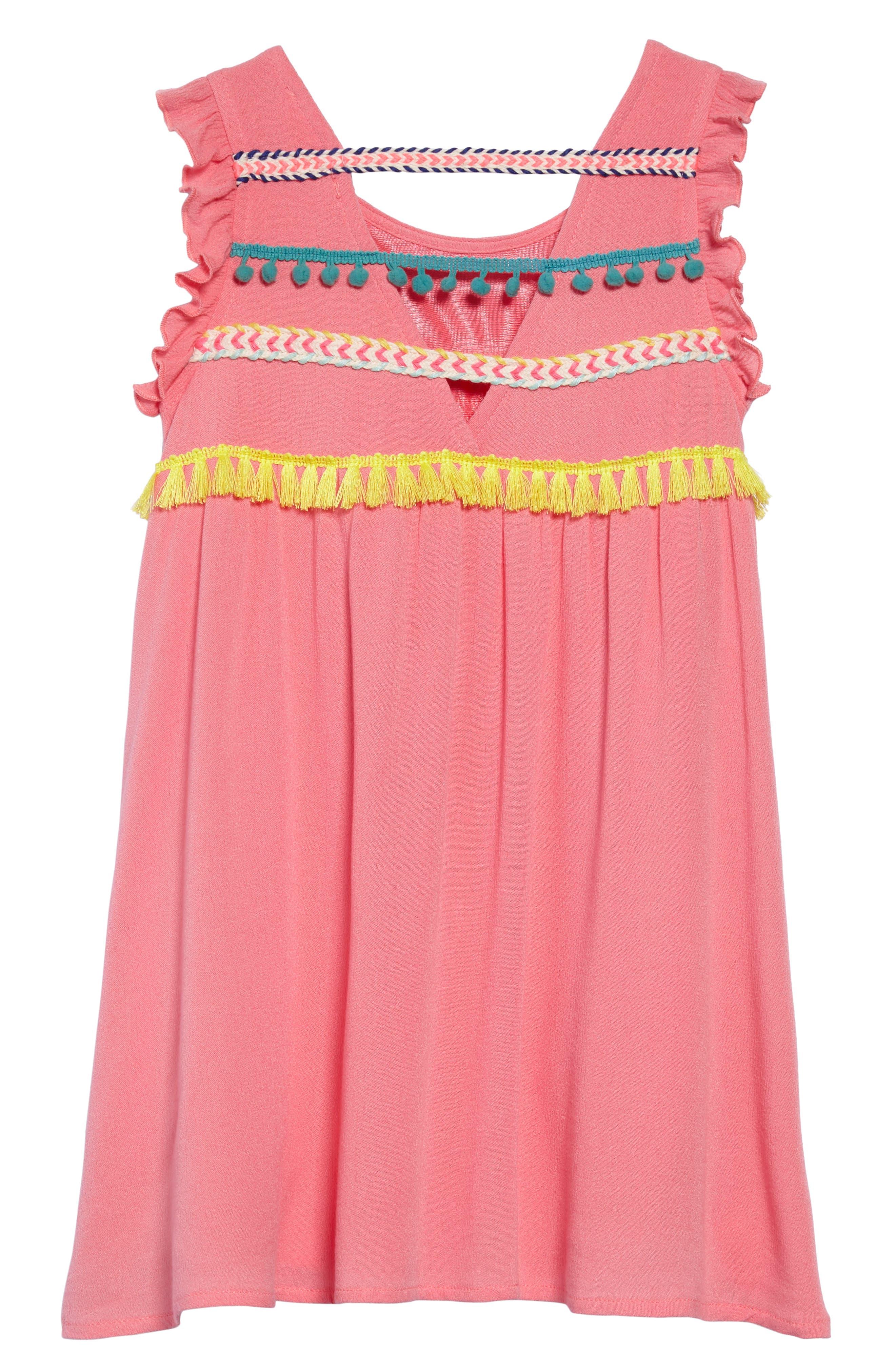 Trim Babydoll Dress,                             Alternate thumbnail 2, color,                             Coral