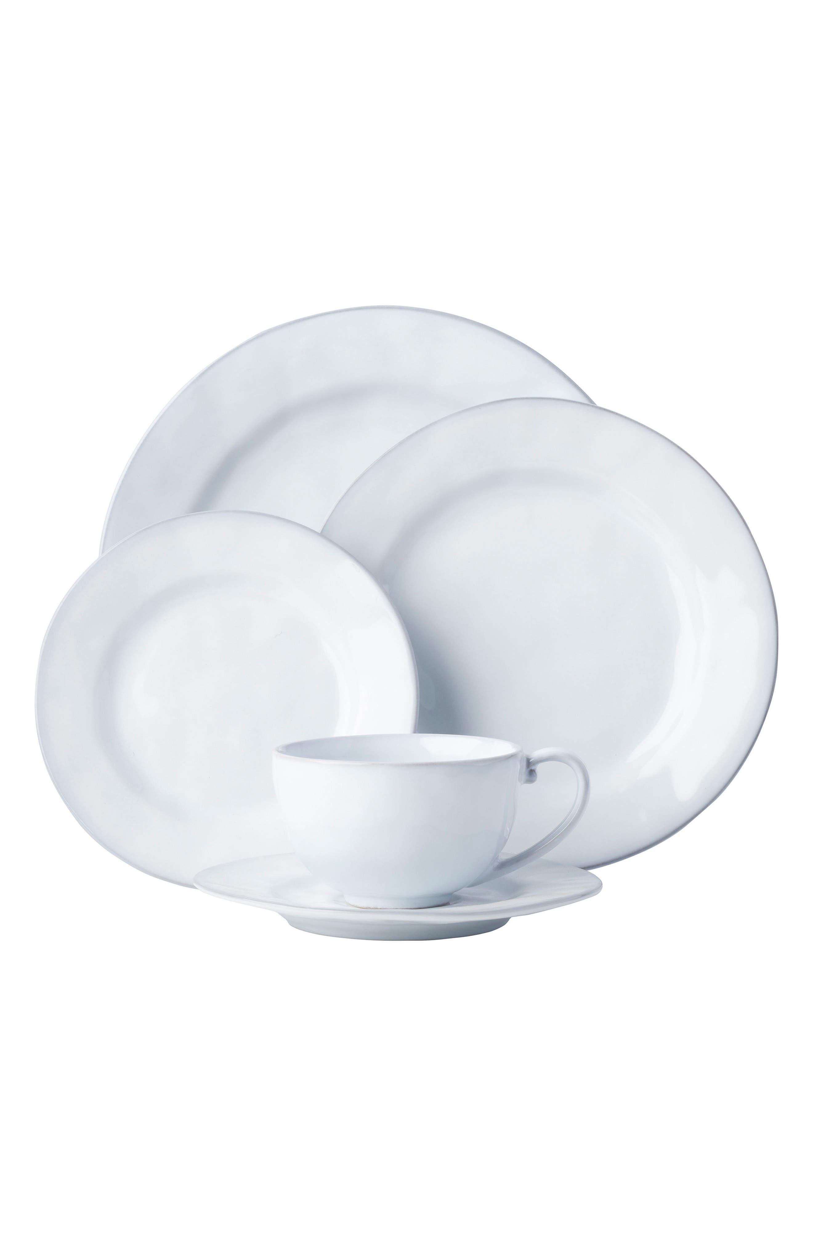 Quotidien 5-Piece Ceramic Place Setting,                             Main thumbnail 1, color,                             White Truffle