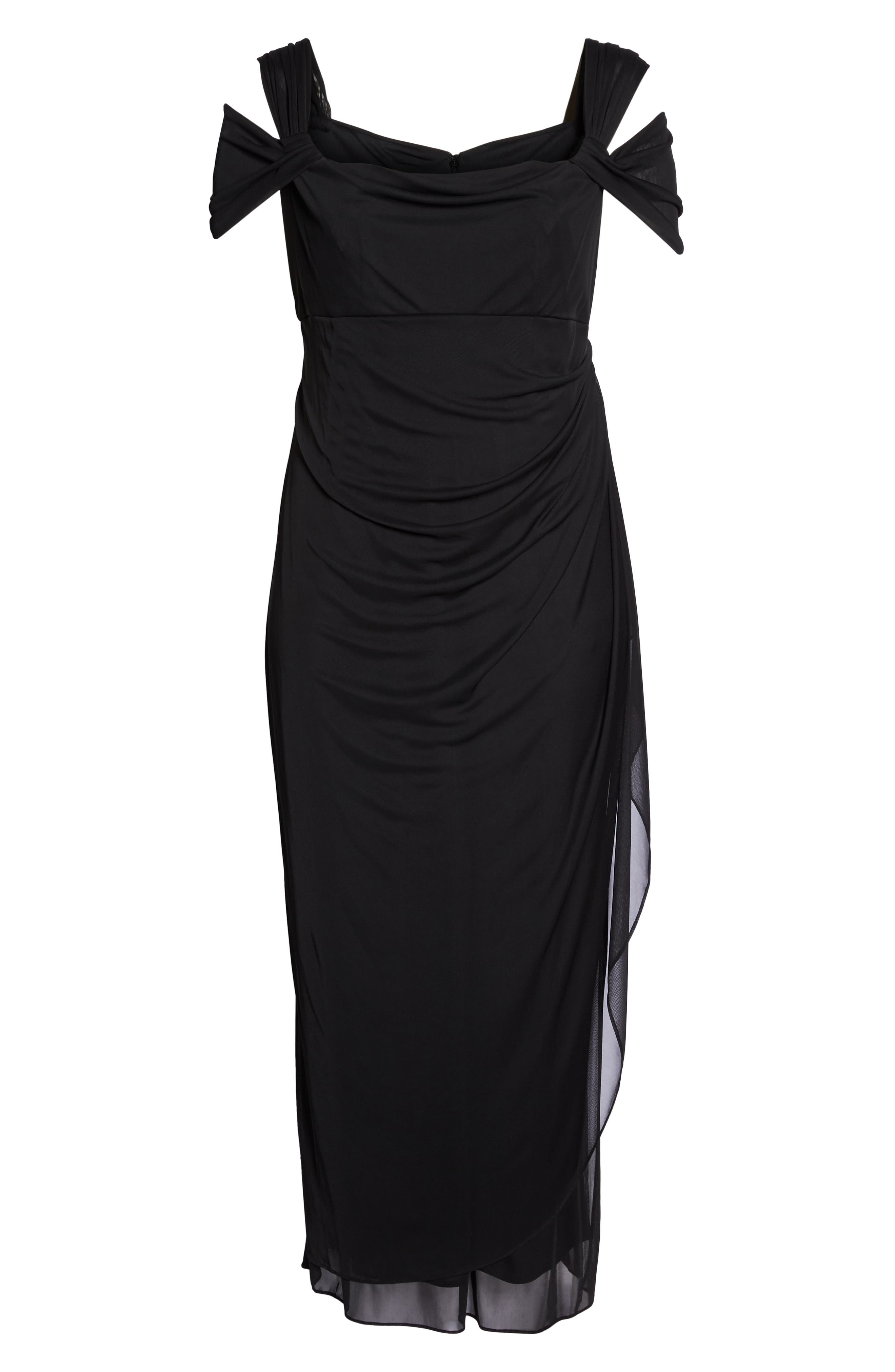 Cold Shoulder Mesh Gown,                             Alternate thumbnail 6, color,                             Black