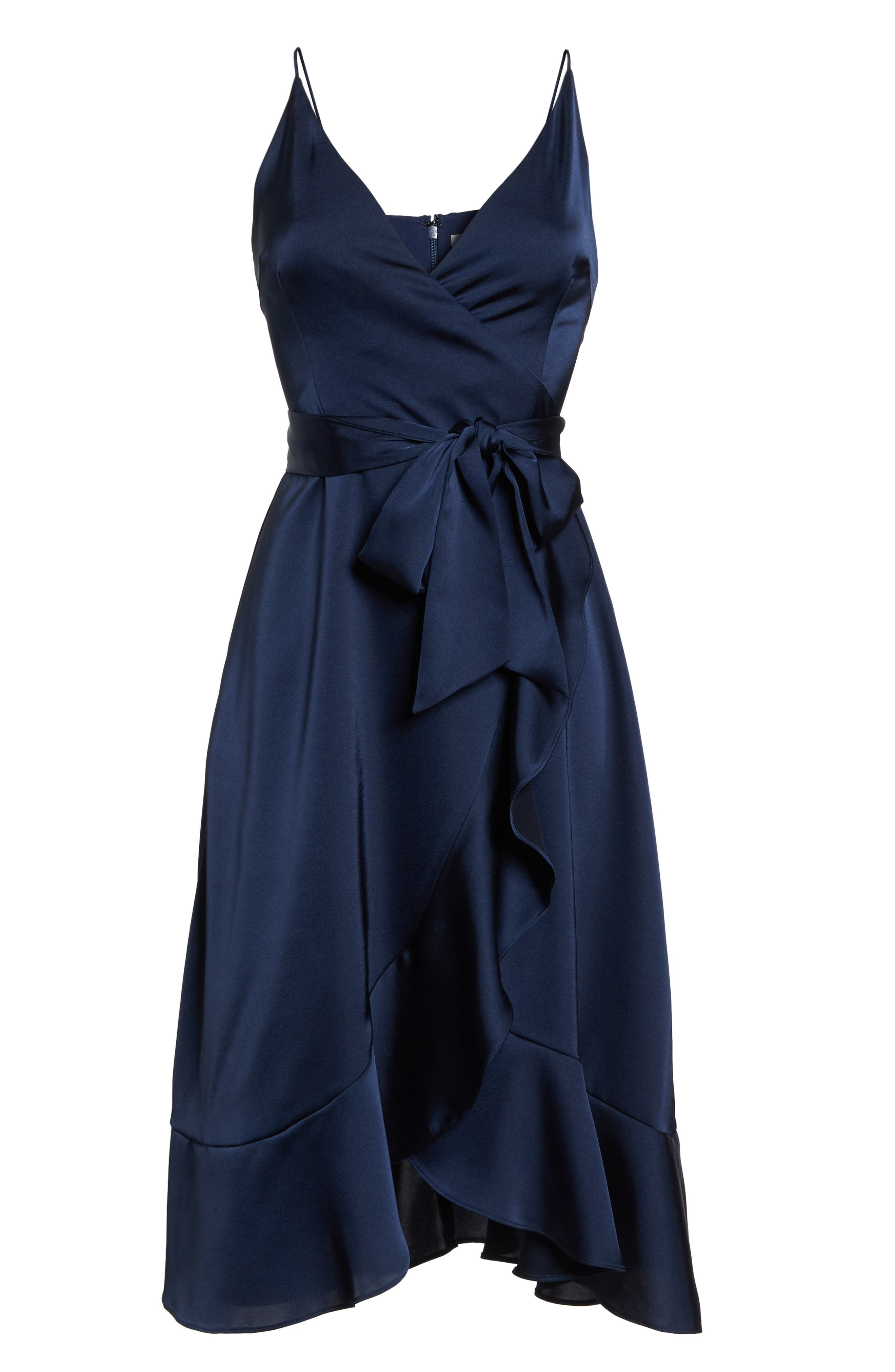 Marilyn Satin Faux Wrap Dress,                             Alternate thumbnail 7, color,                             Navy