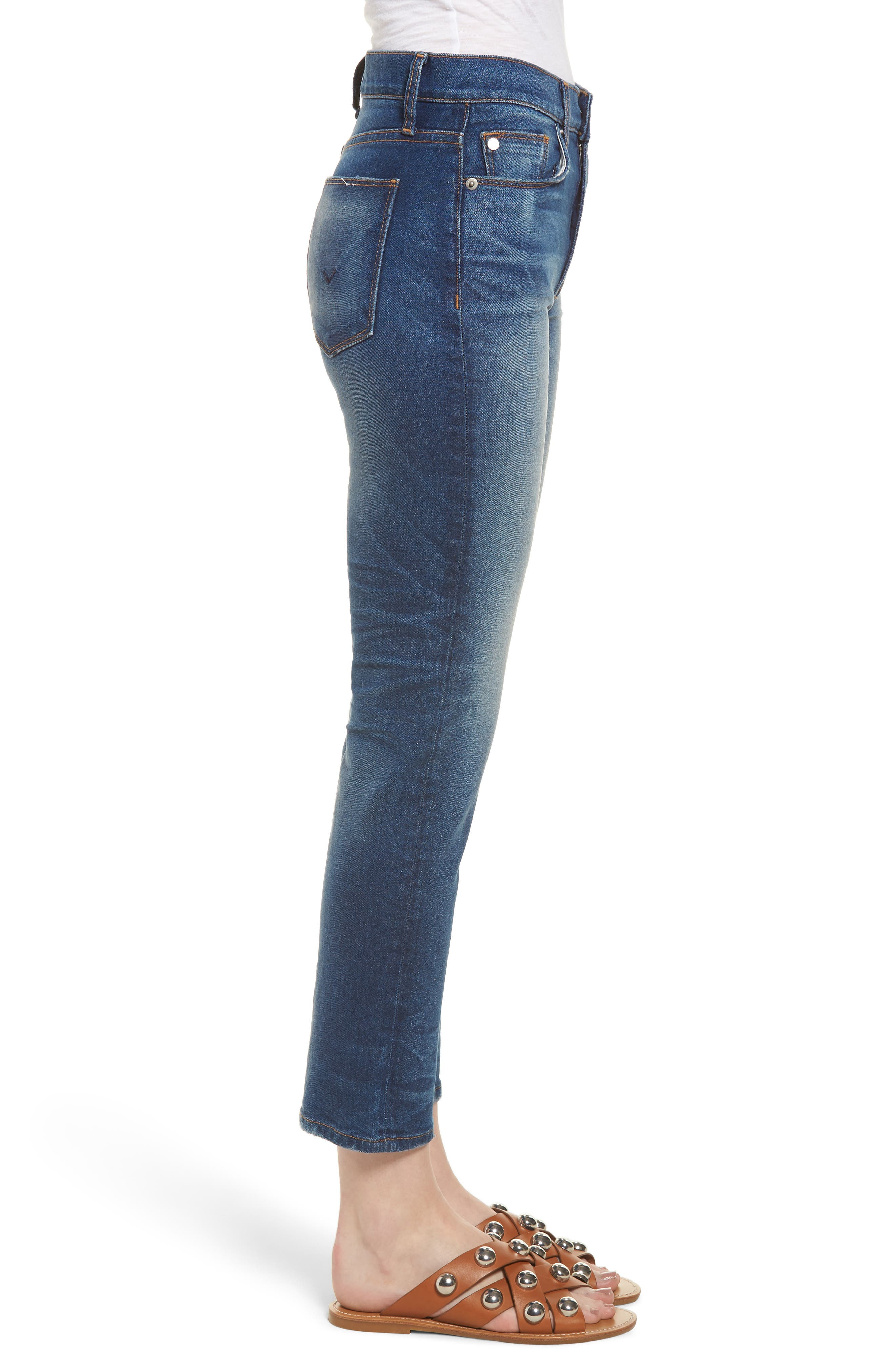 Zoeey High Waist Crop Straight Leg Jeans,                             Alternate thumbnail 3, color,                             Undenied