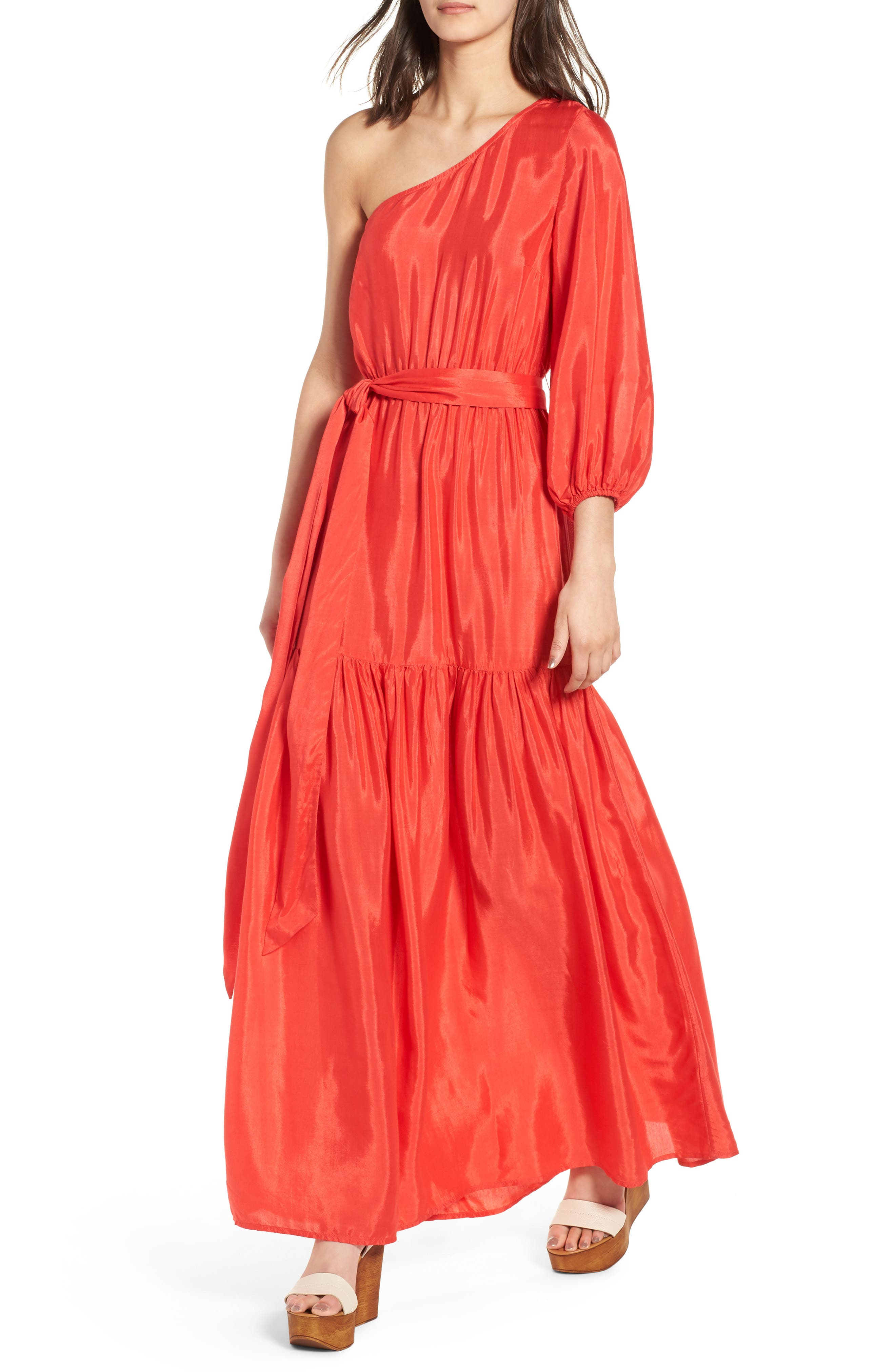 One-Shoulder Maxi Dress,                         Main,                         color, Bright Red