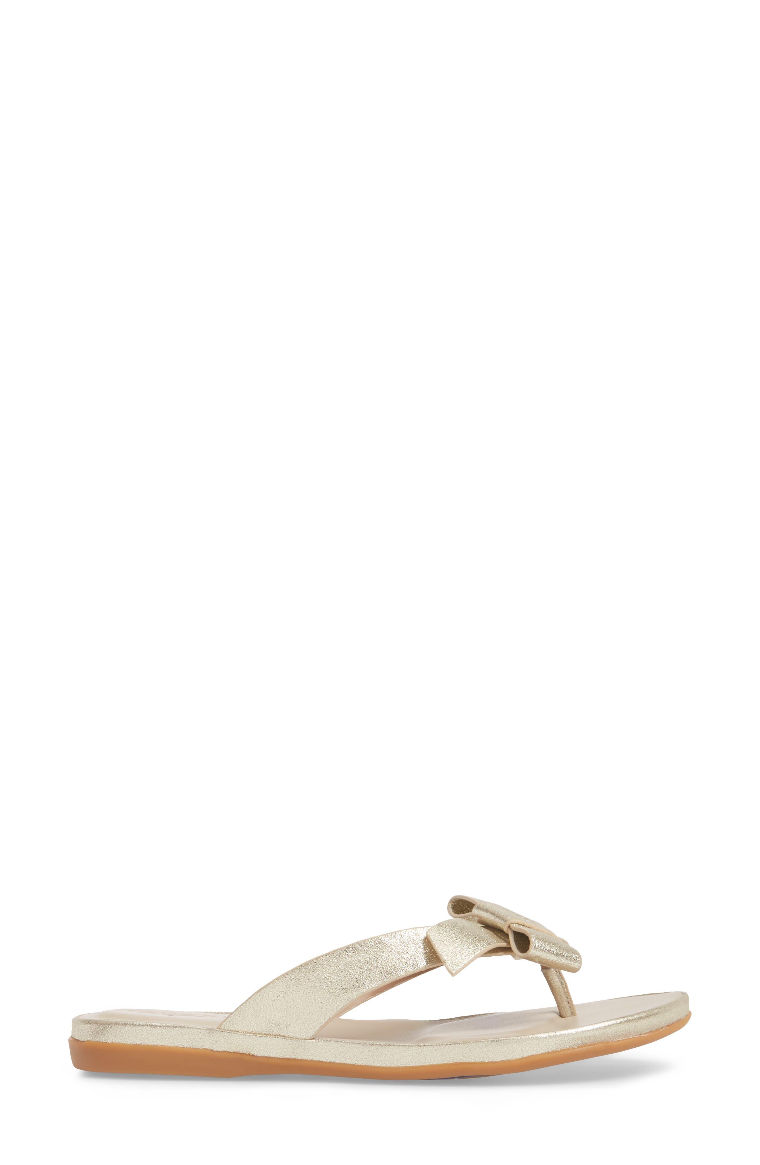 Aria Flip Flop,                             Alternate thumbnail 3, color,                             Warm Gold Leather