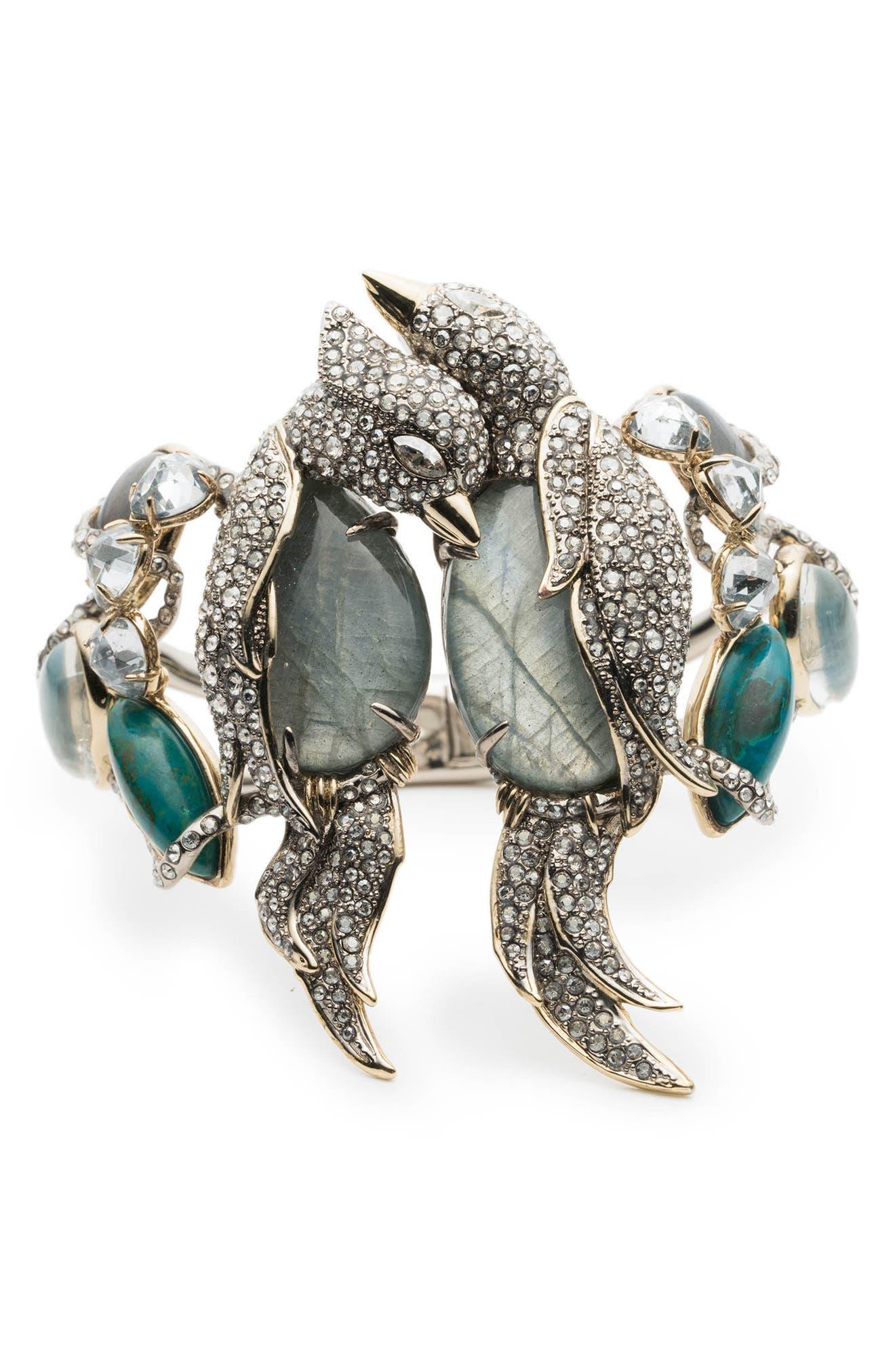 Lovebird Hinge Bracelet,                             Main thumbnail 1, color,                             Gold/ Silver