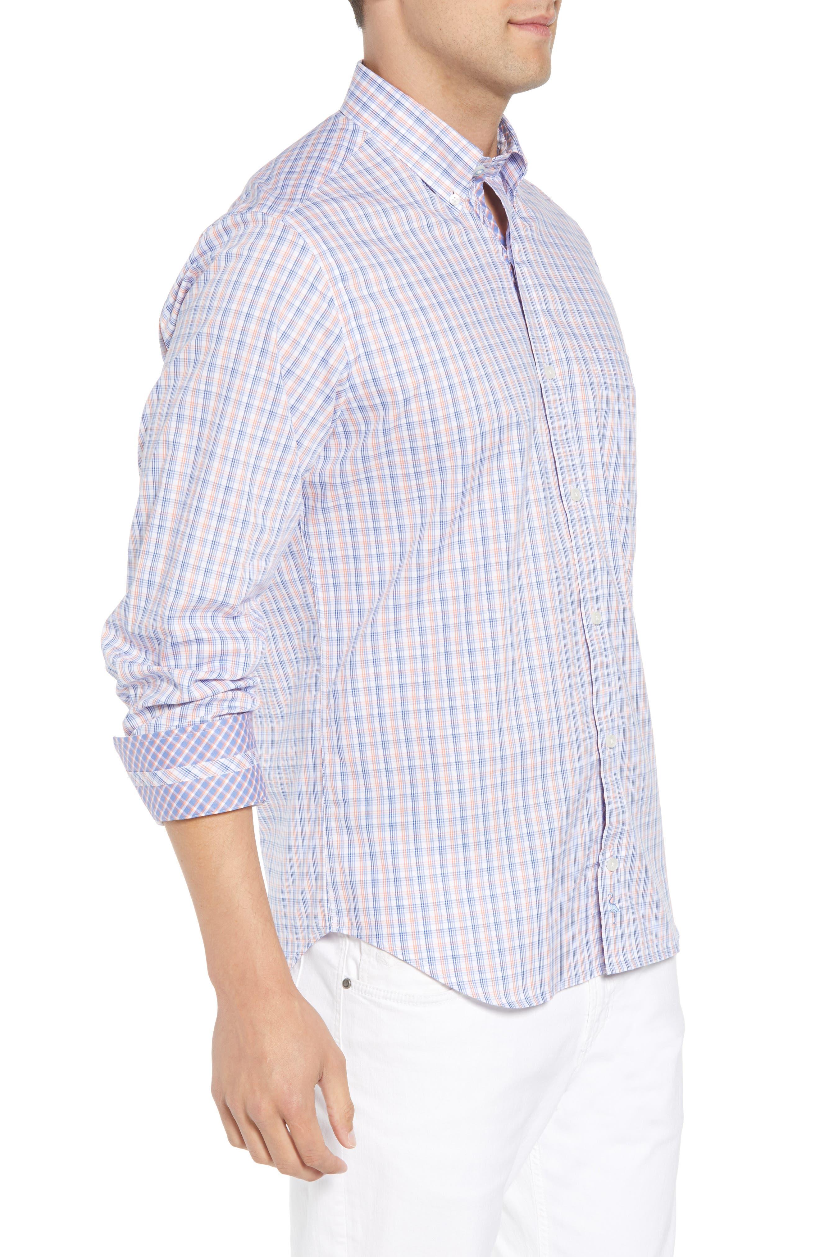 Adon Regular Fit Plaid Sport Shirt,                             Alternate thumbnail 4, color,                             Orange