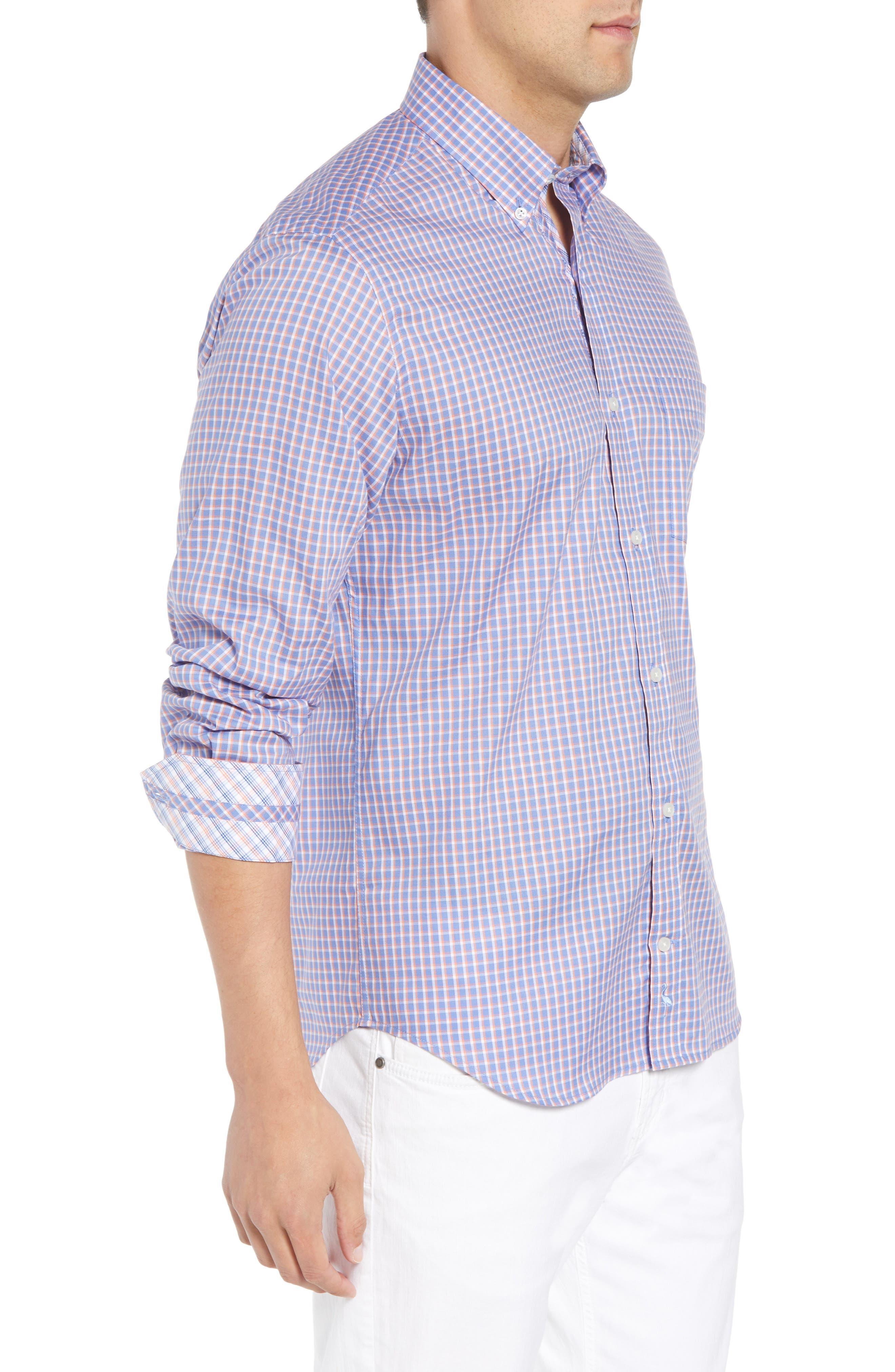 Bader Regular Fit Check Sport Shirt,                             Alternate thumbnail 4, color,                             Navy