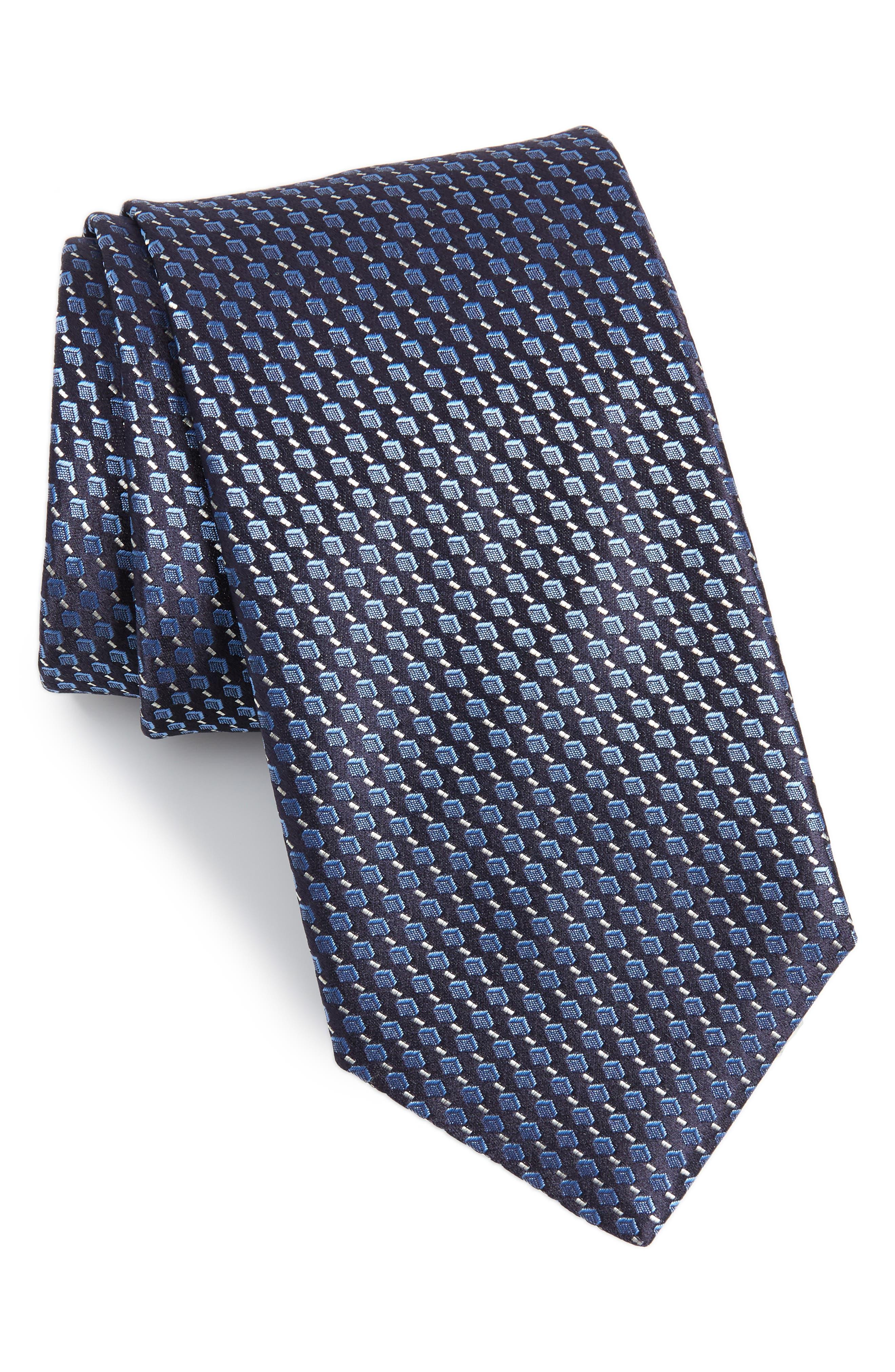 Geometric Silk Tie,                         Main,                         color, Dark Blue