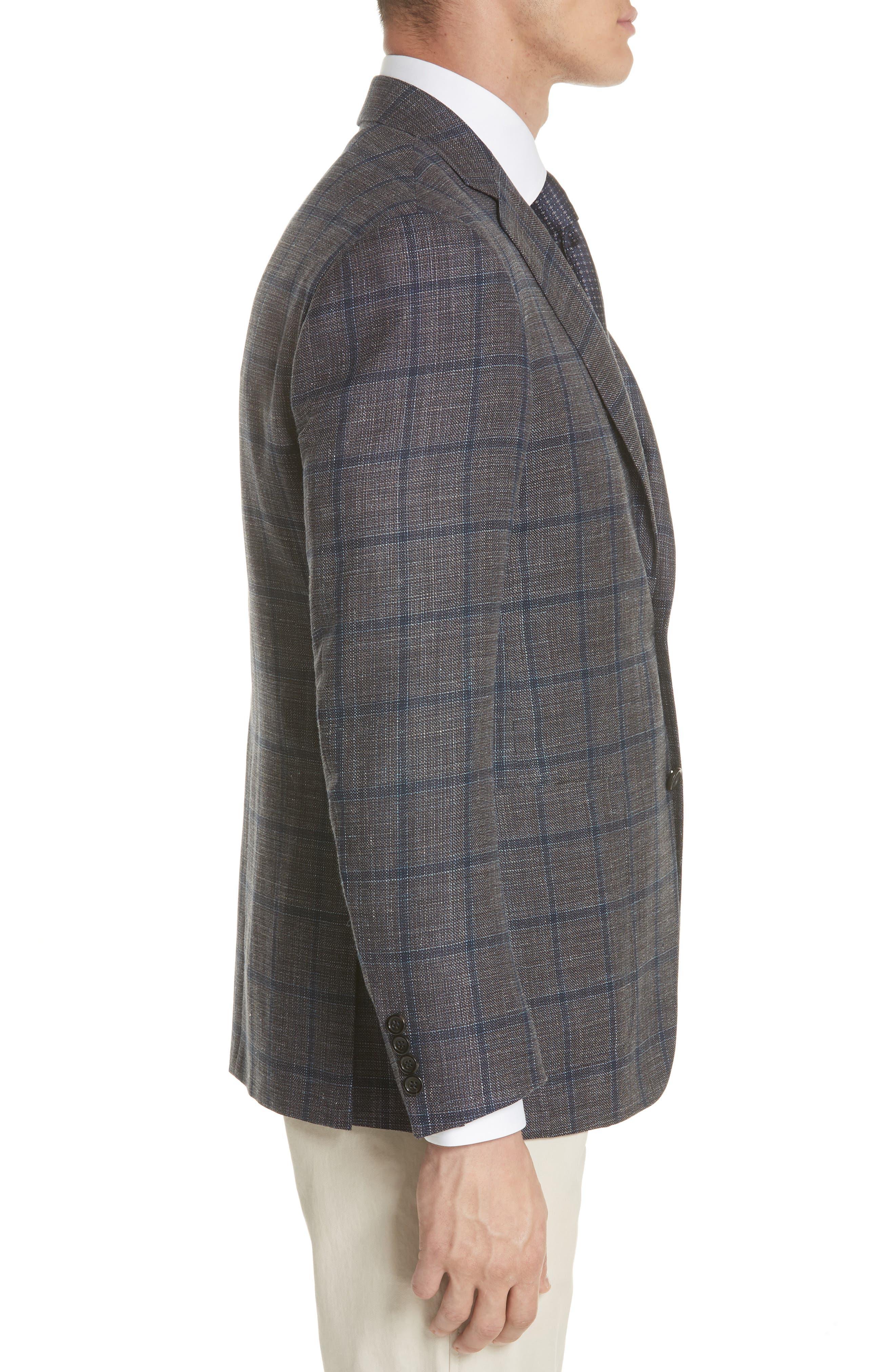Kei Classic Fit Windowpane Wool Blend Sport Coat,                             Alternate thumbnail 3, color,                             Brown
