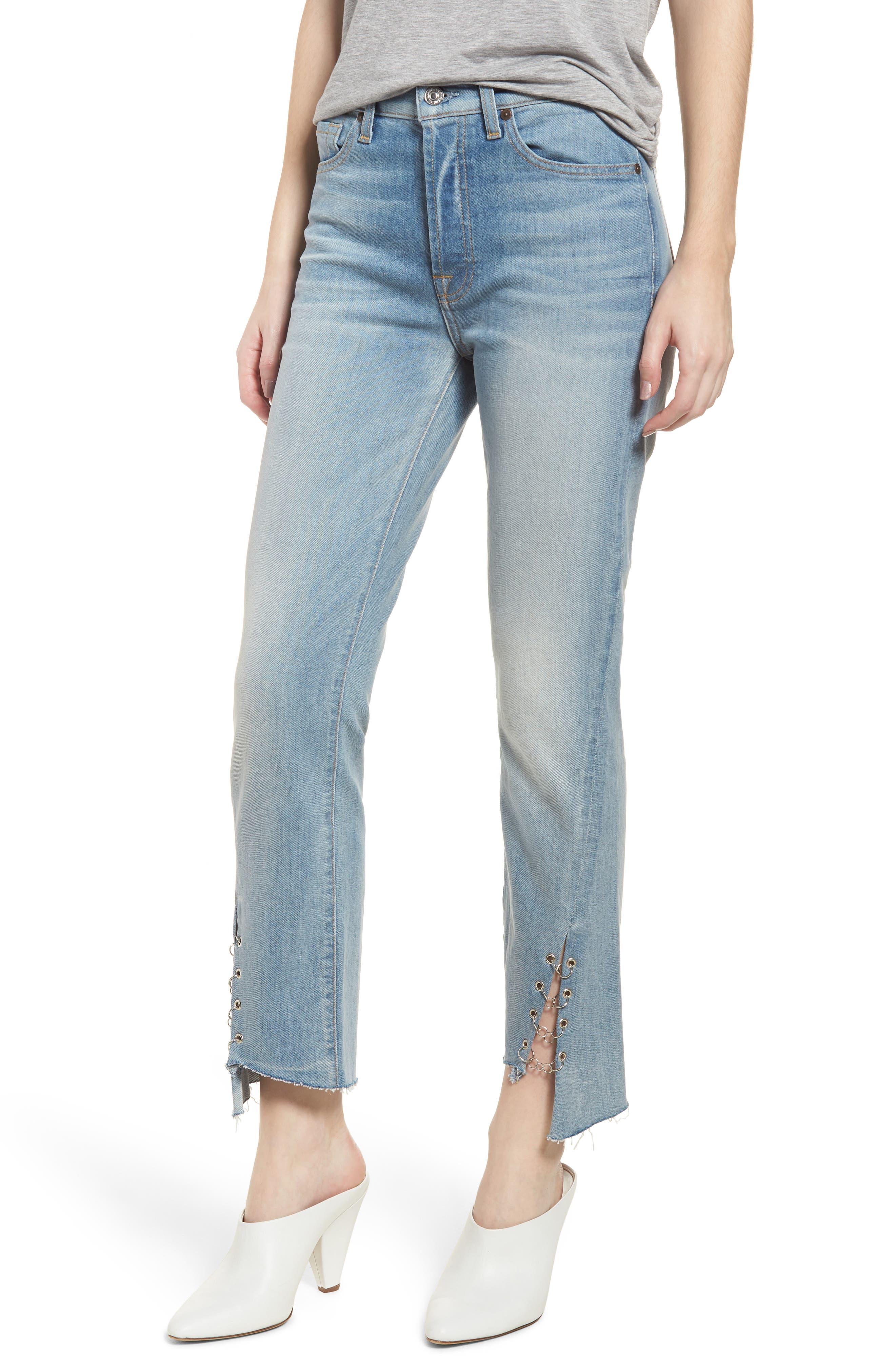 Edie Grommet & Rings Seam Crop Jeans,                             Main thumbnail 1, color,                             Light Riviera