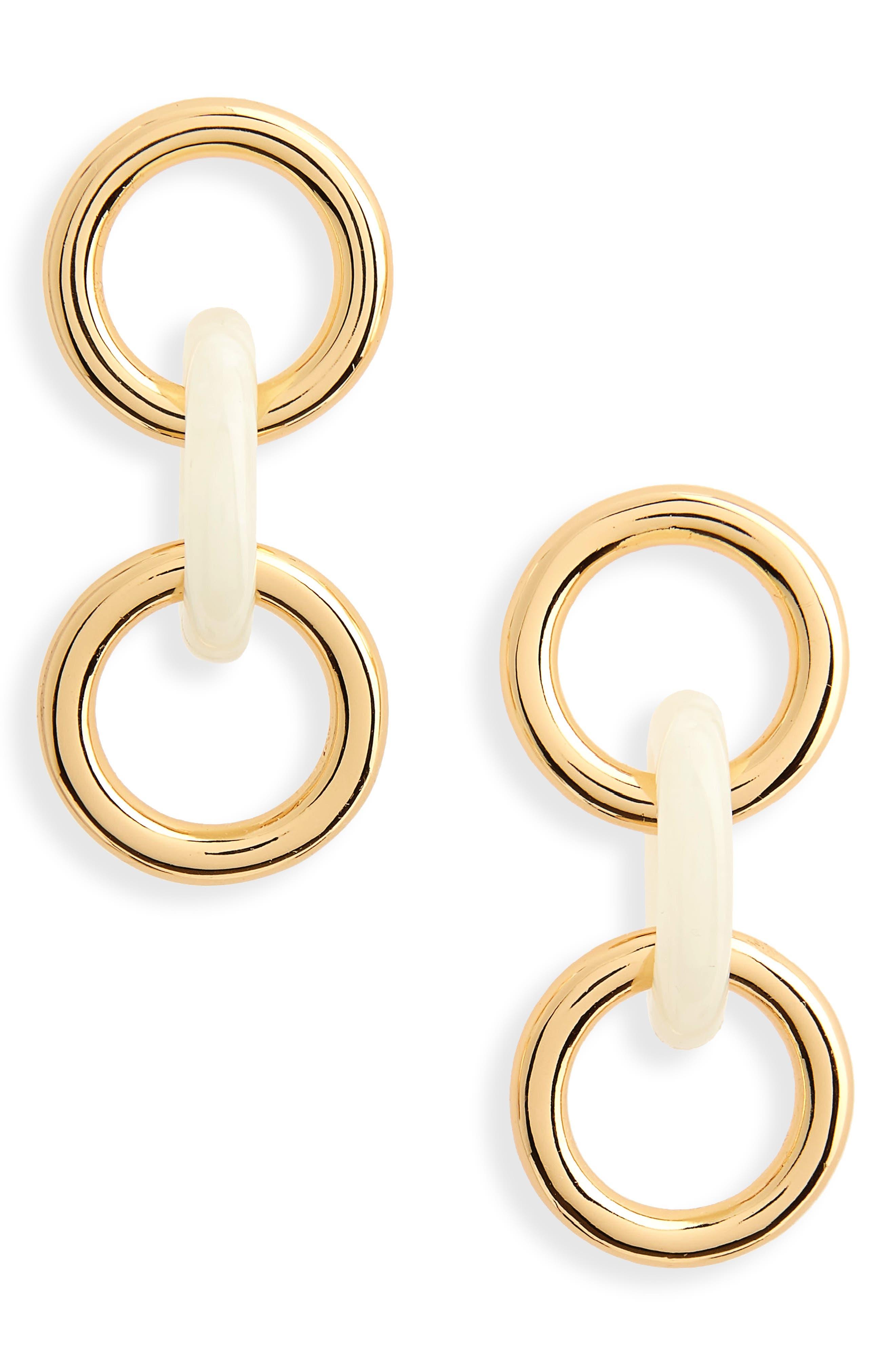 Triplet Link Drop Earrings,                         Main,                         color, Ivory