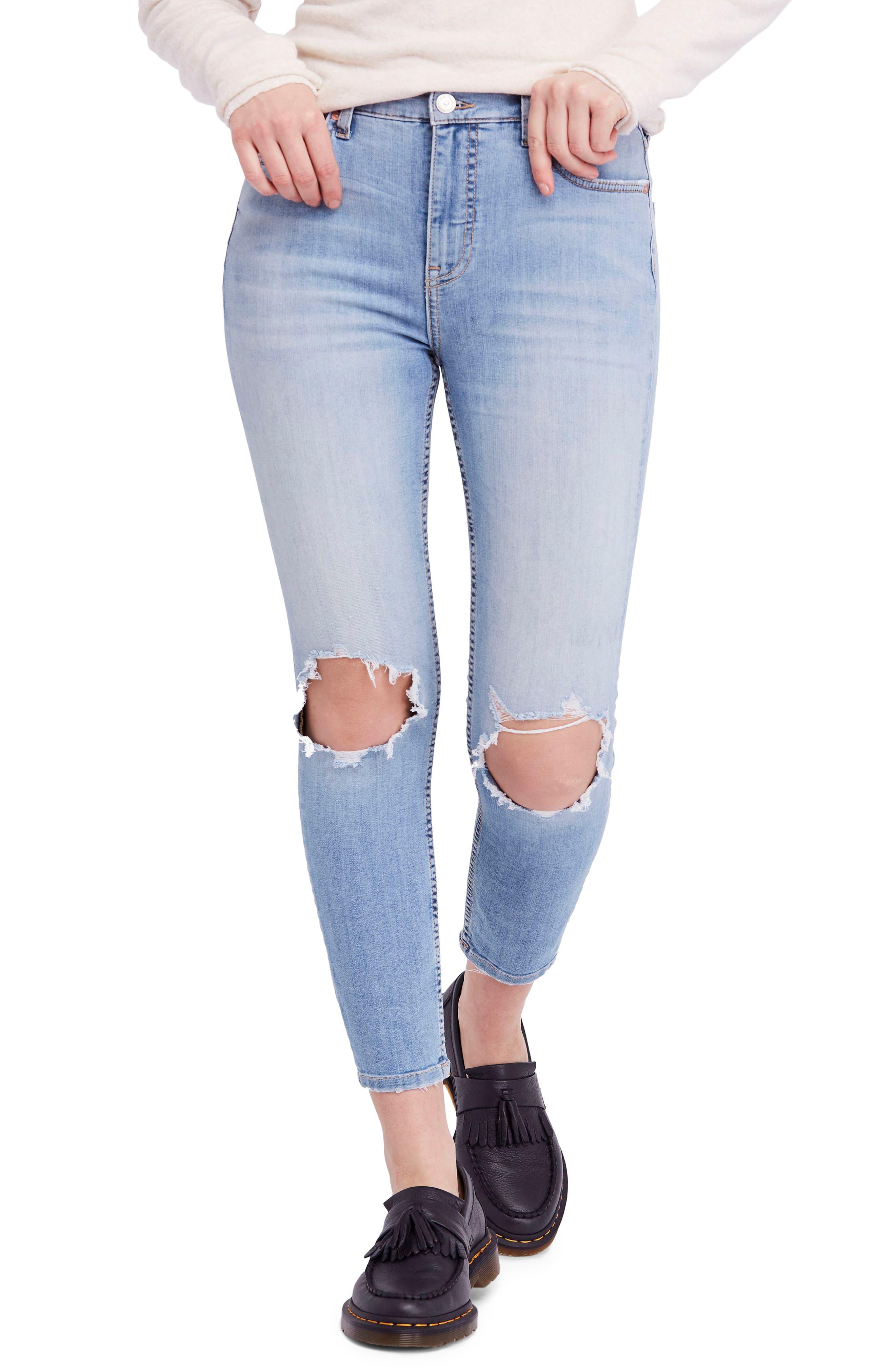High Waist Ankle Skinny Jeans,                             Main thumbnail 1, color,                             Sky