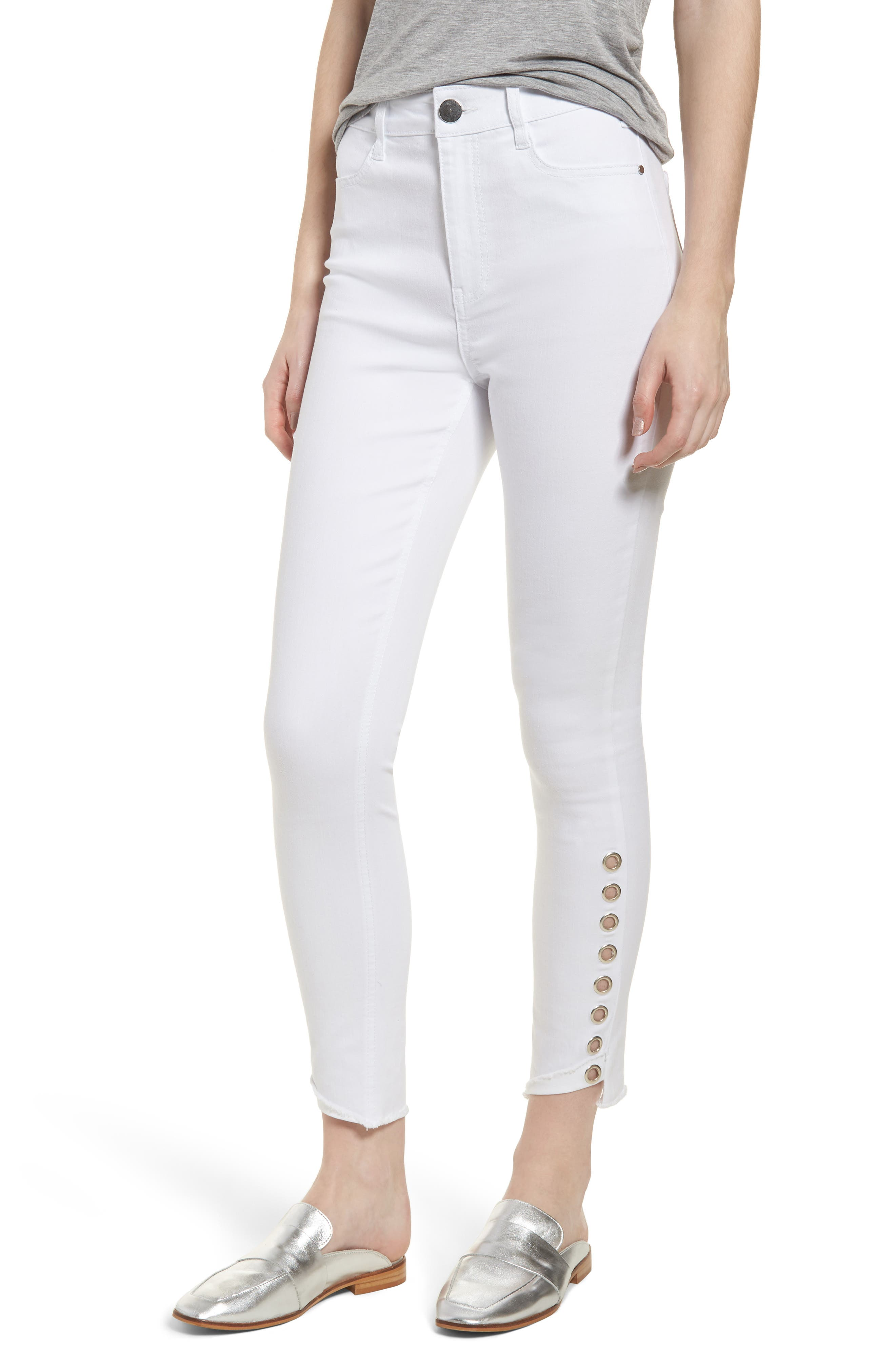 Grommet Detail Ankle Skinny Jeans,                             Main thumbnail 1, color,                             Optic White
