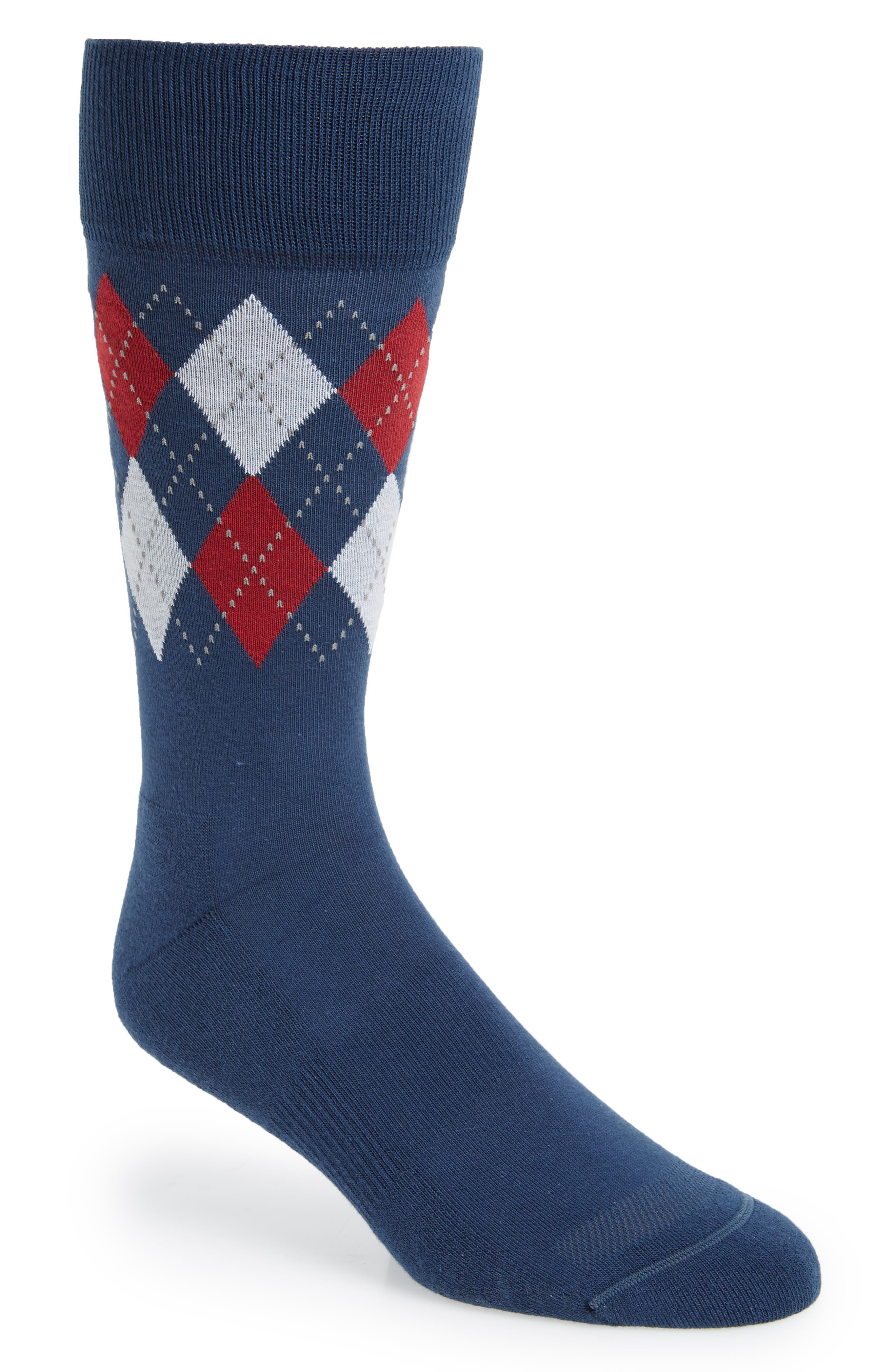 Argyle Band Socks,                         Main,                         color, Red/ White/ Blue