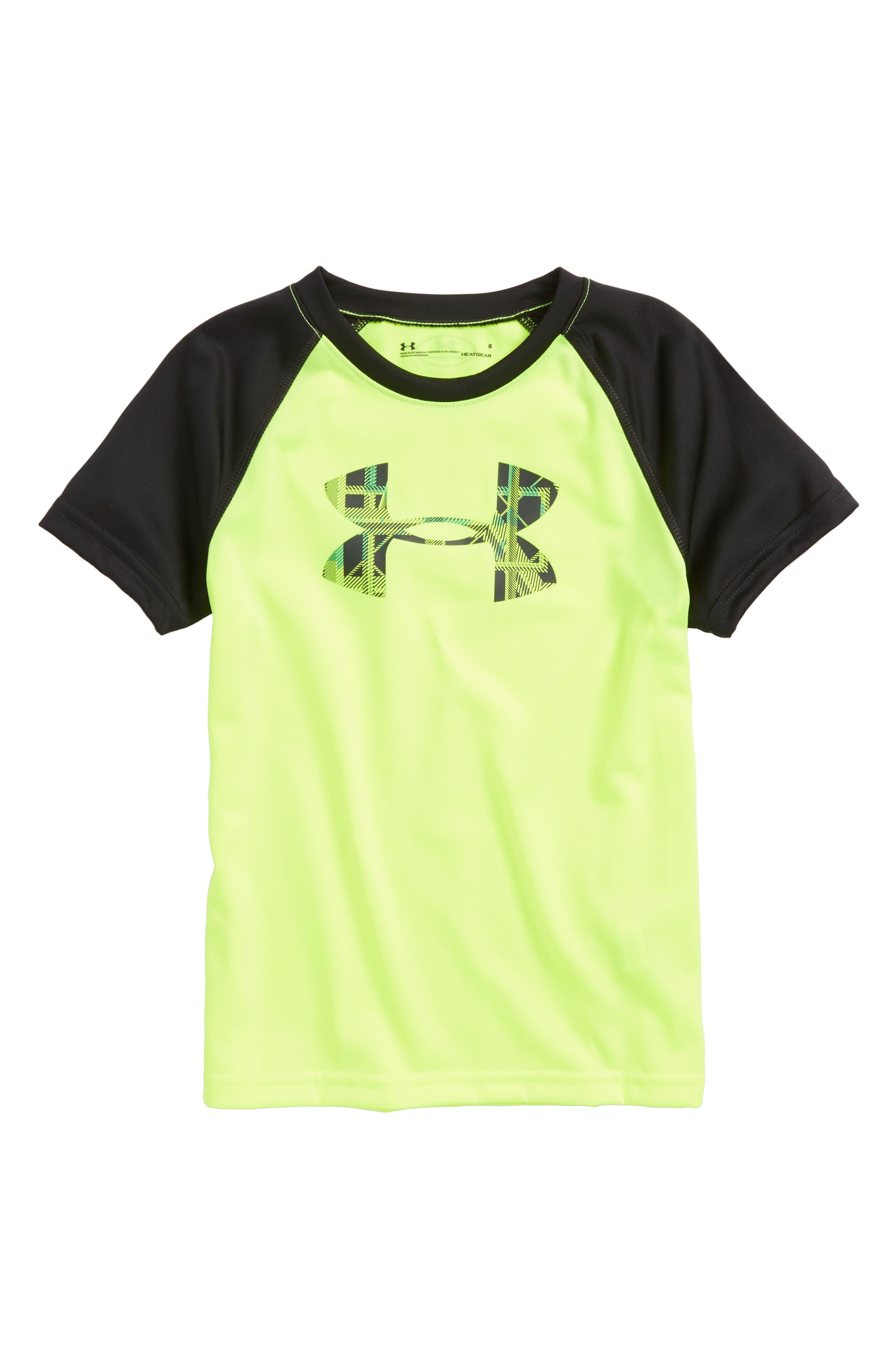 Distinction Big Logo HeatGear<sup>®</sup> T-Shirt,                             Main thumbnail 1, color,                             Hi Vis Yellow