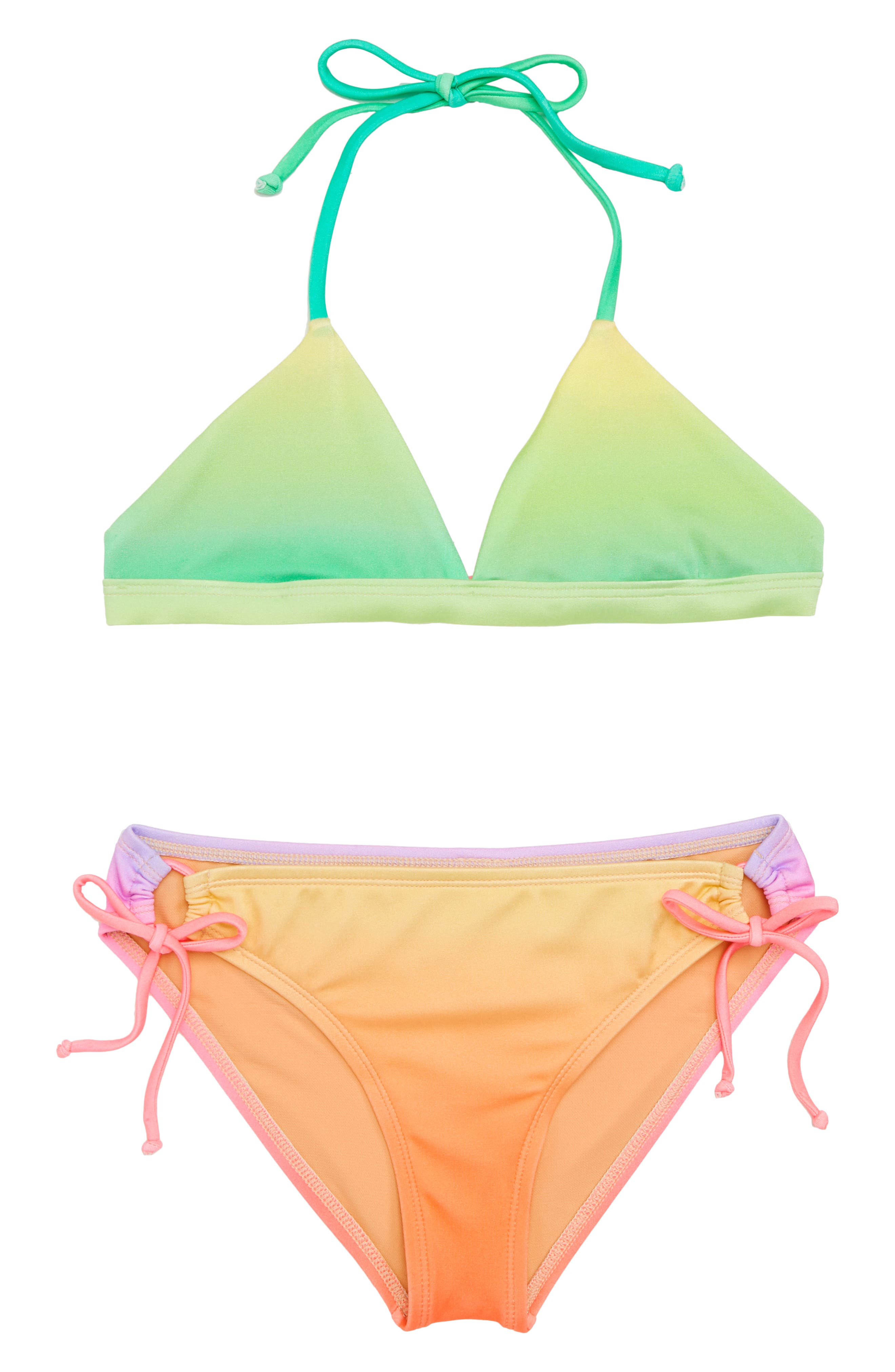 Teen Spirit Triangle Two-Piece Swimsuit,                             Main thumbnail 1, color,                             Blue/ Green