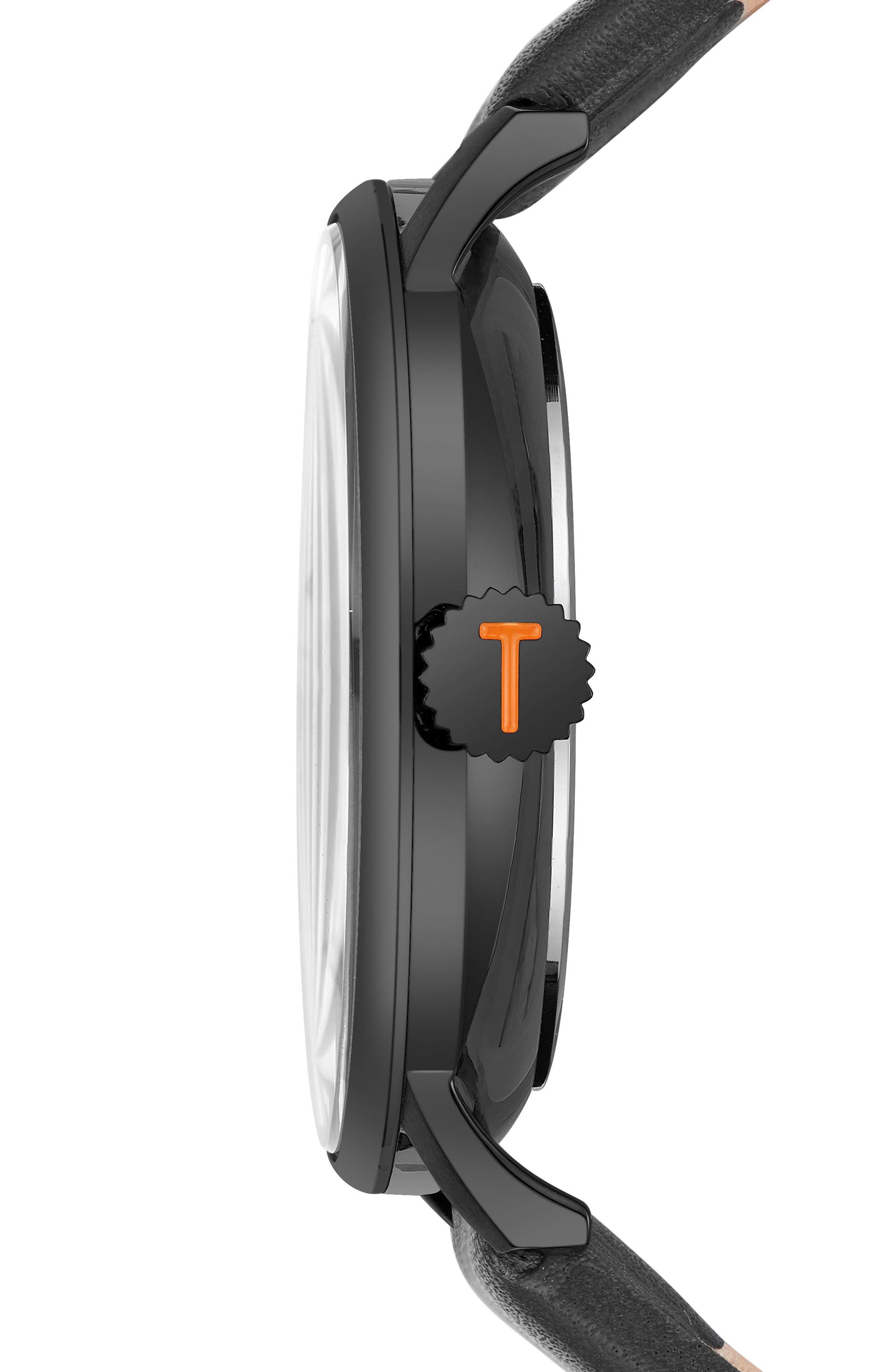 James Leather Strap Watch, 43mm,                             Alternate thumbnail 3, color,                             Blue/ Black