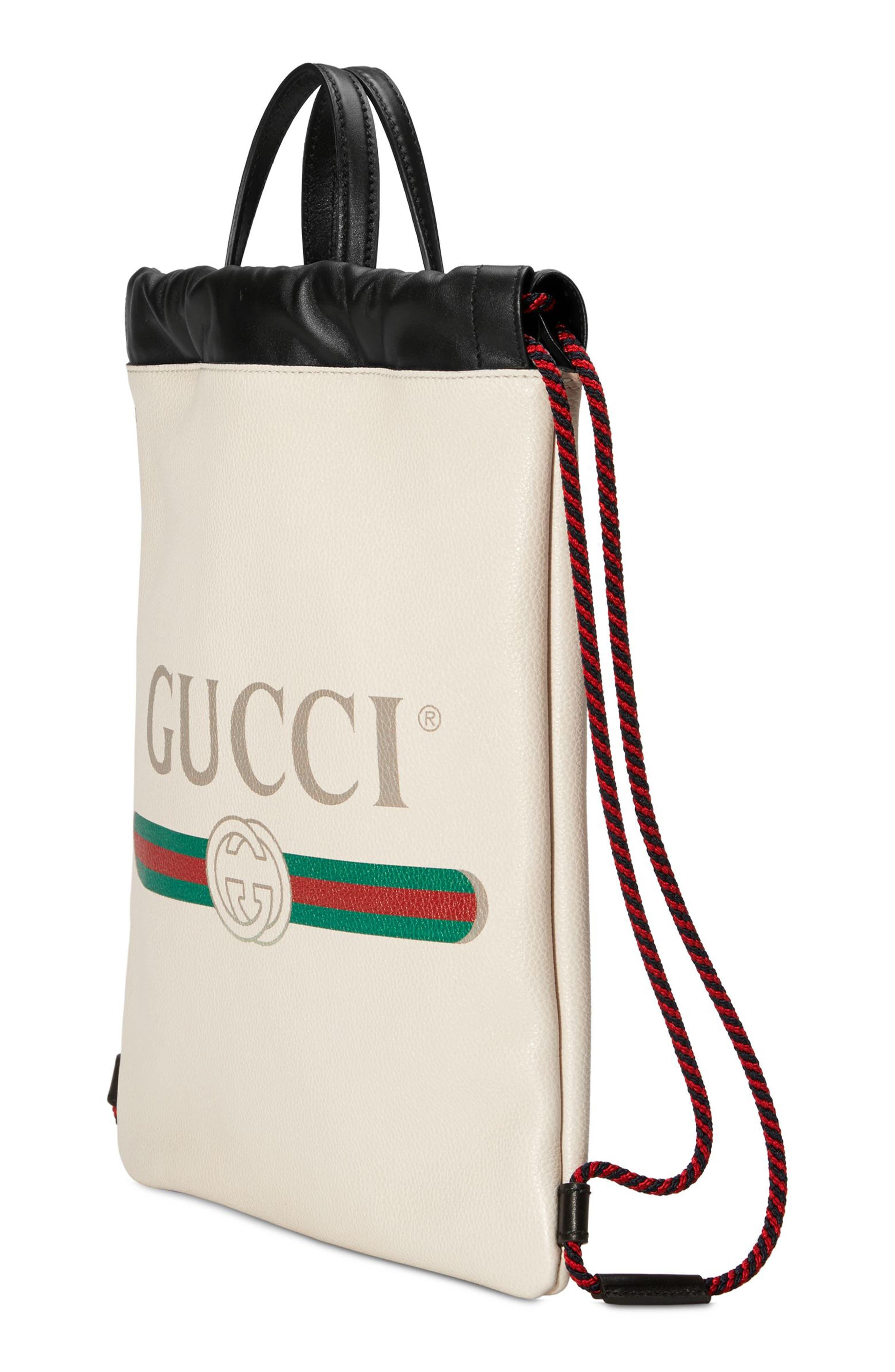 Small Logo Leather Drawstring Backpack,                             Alternate thumbnail 4, color,                             Mystic White/ Vert Red Vert