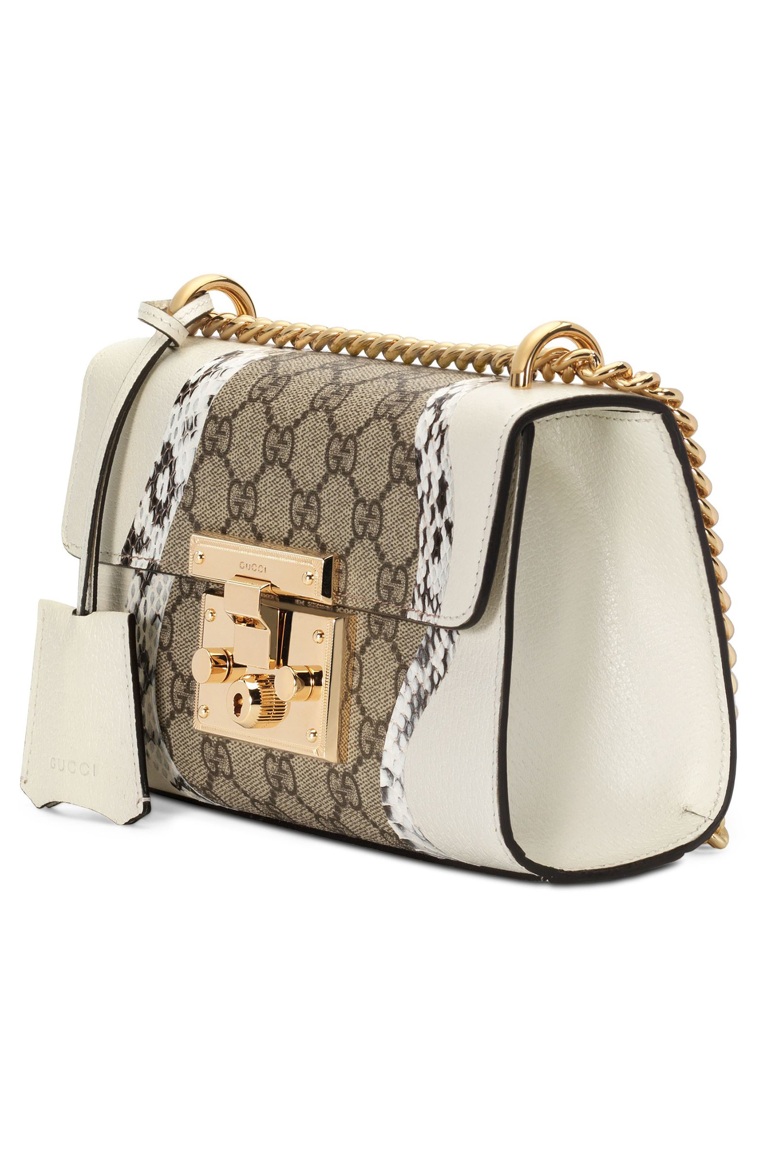 Small Padlock GG Supreme Wave Shoulder Bag with Genuine Snakeskin Trim,                             Alternate thumbnail 4, color,                             White/ Roccia/ Beige Ebony