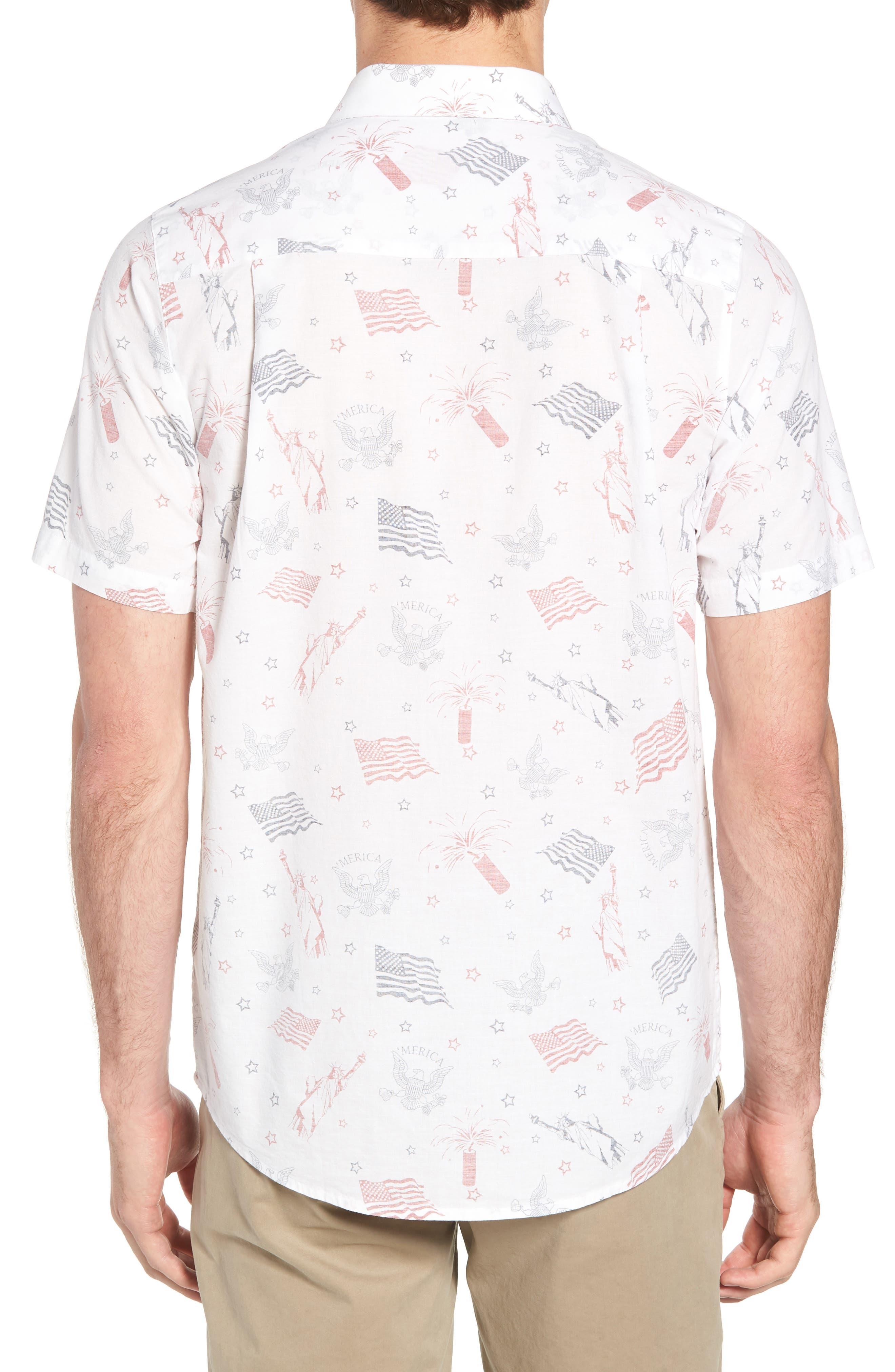 Black Cat Regular Fit Short Sleeve Sport Shirt,                             Alternate thumbnail 3, color,                             White
