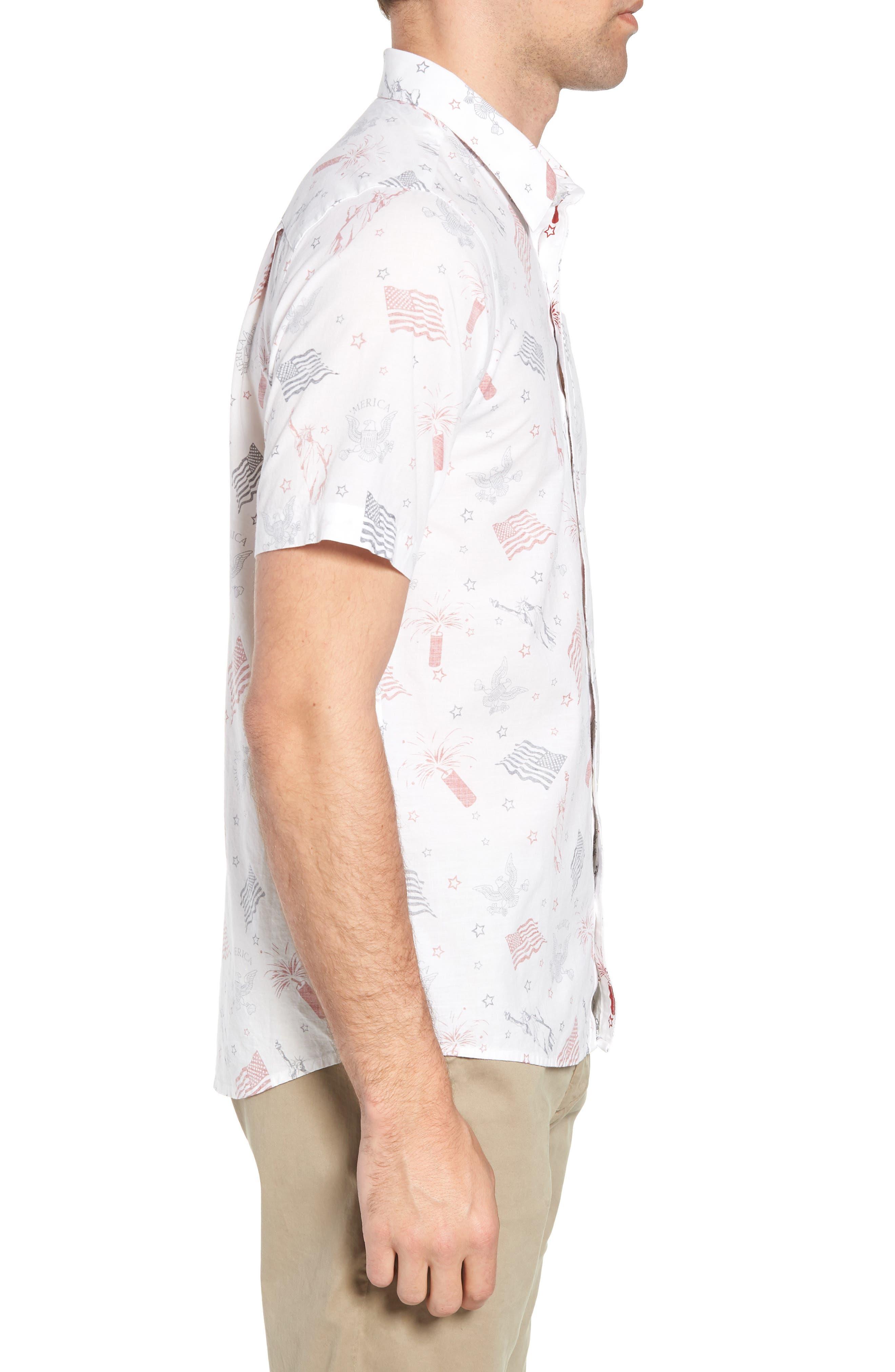 Black Cat Regular Fit Short Sleeve Sport Shirt,                             Alternate thumbnail 4, color,                             White
