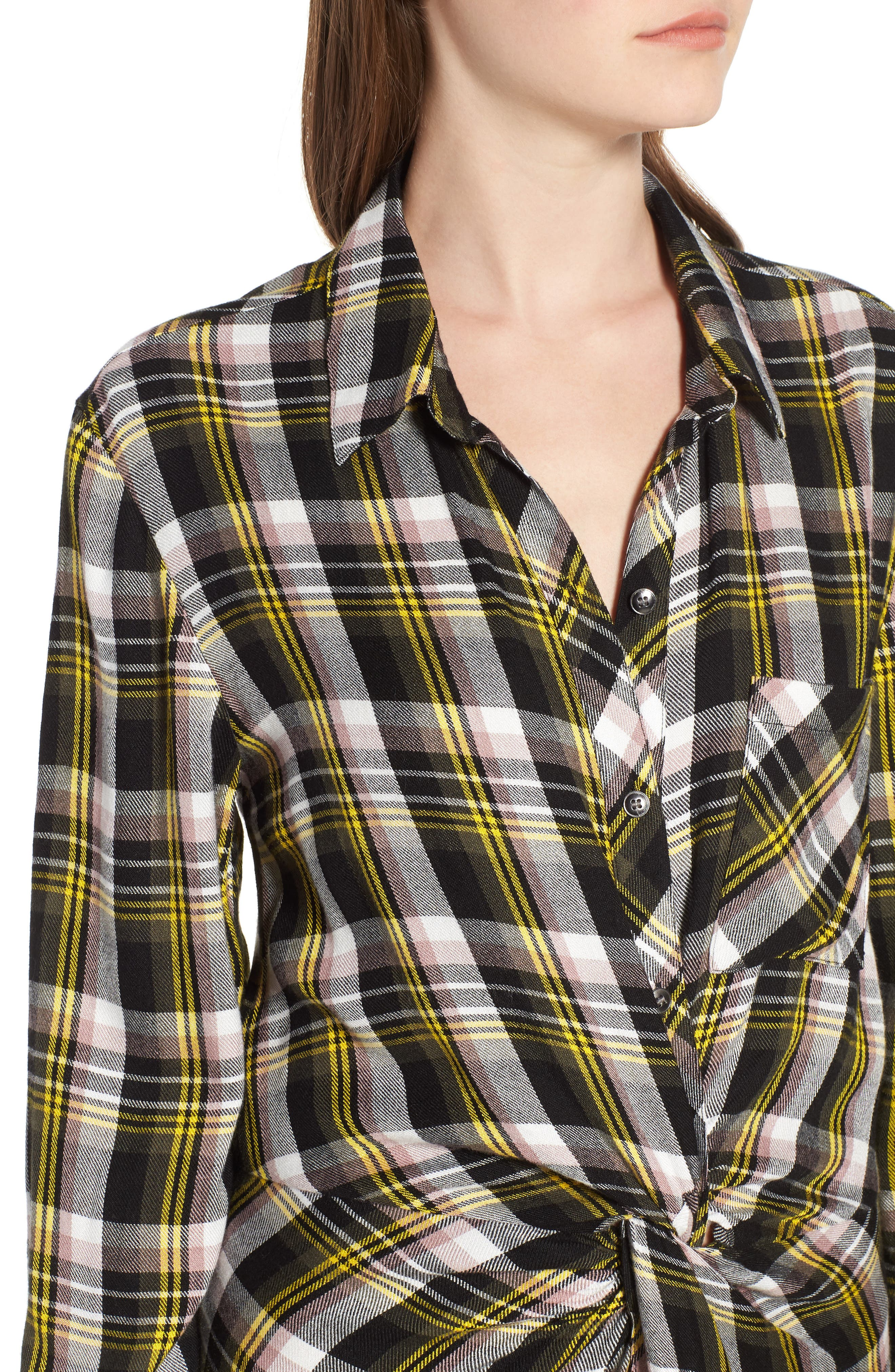 Twist Front Plaid Shirtdress,                             Alternate thumbnail 4, color,                             Black- Yellow Adele Plaid