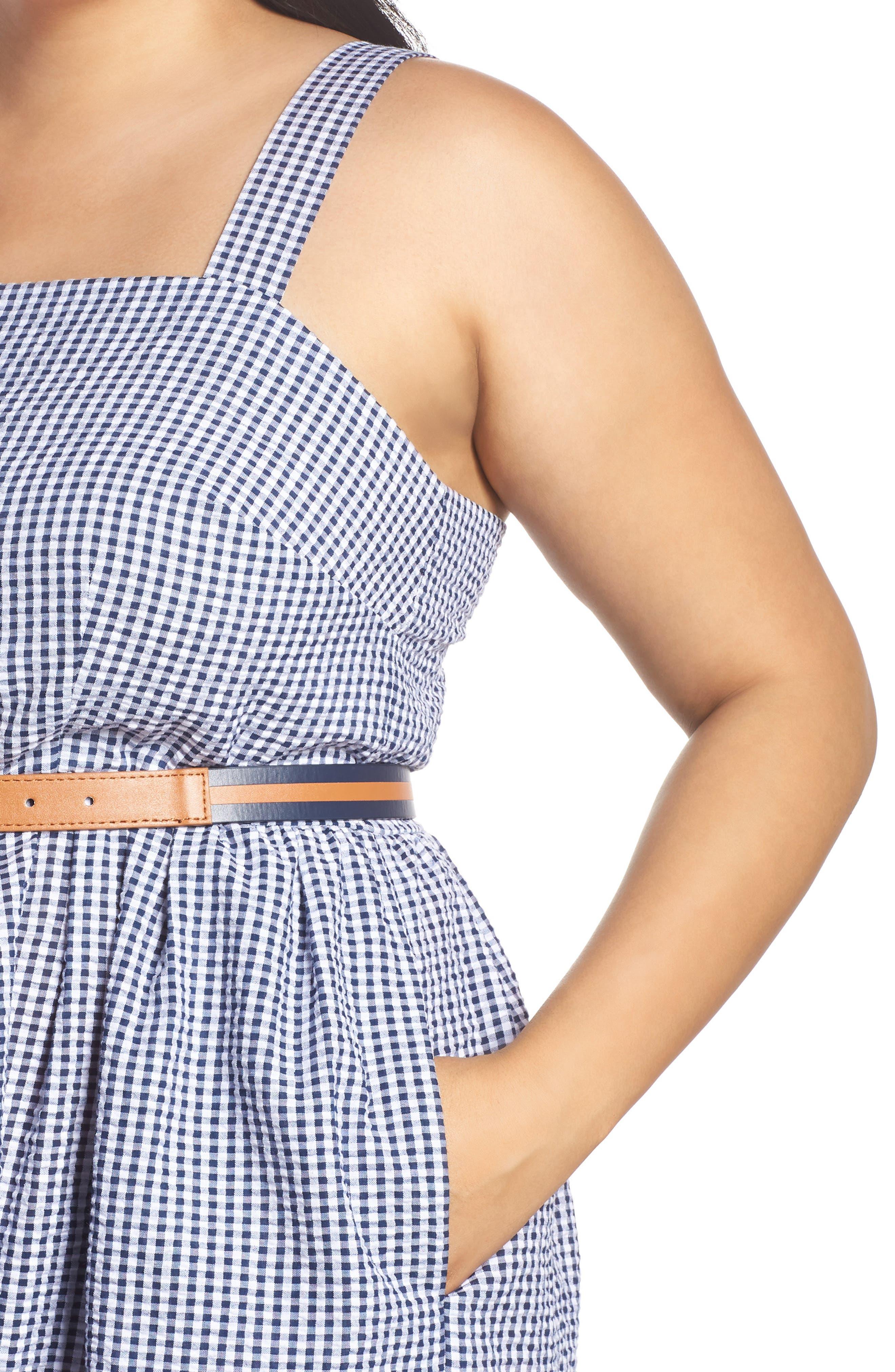 Belted Gingham Seersucker Fit & Flare Dress,                             Alternate thumbnail 4, color,                             Navy/ Ivory
