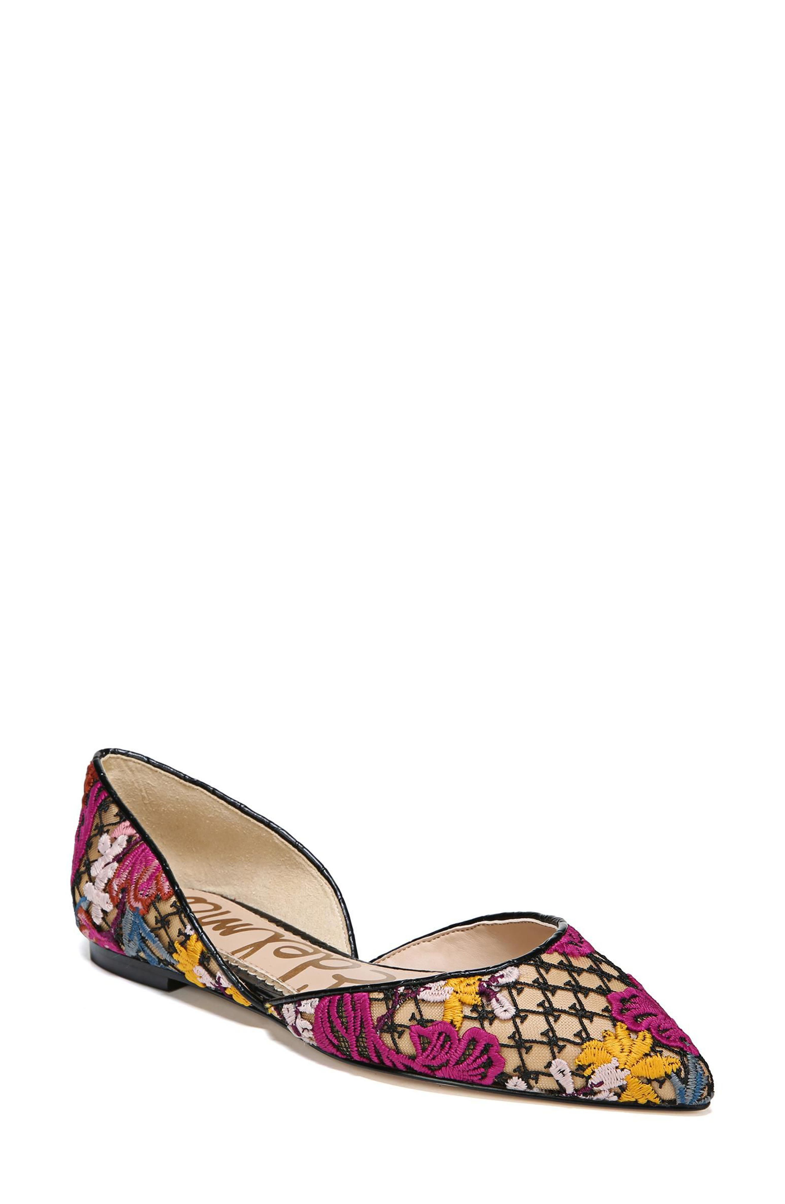 Rodney Pointy Toe d'Orsay Flat,                             Main thumbnail 1, color,                             Bright Multi Floral Lace