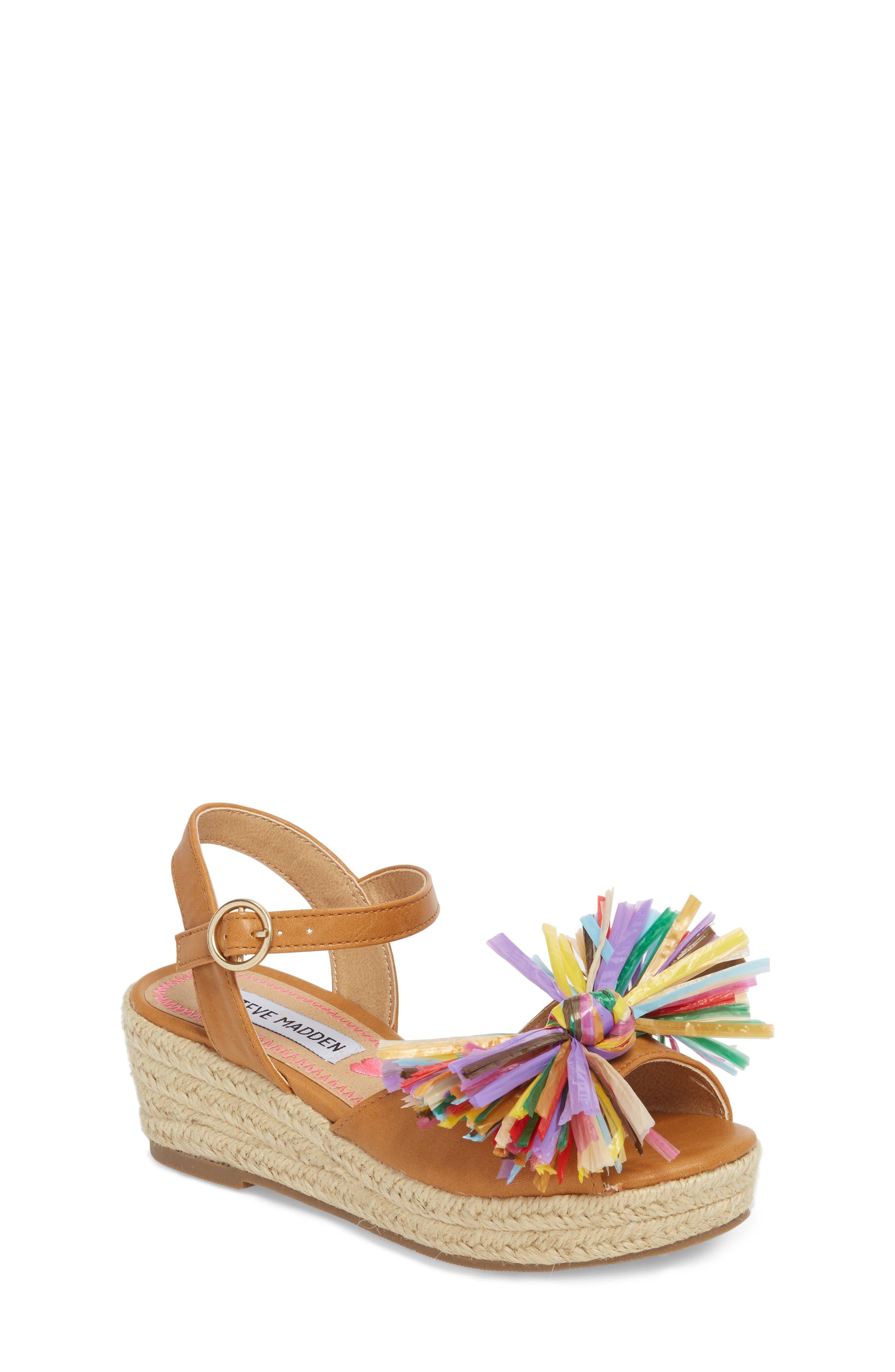 JSTRWBERI Wedge Sandal,                             Main thumbnail 1, color,                             Cognac Multi