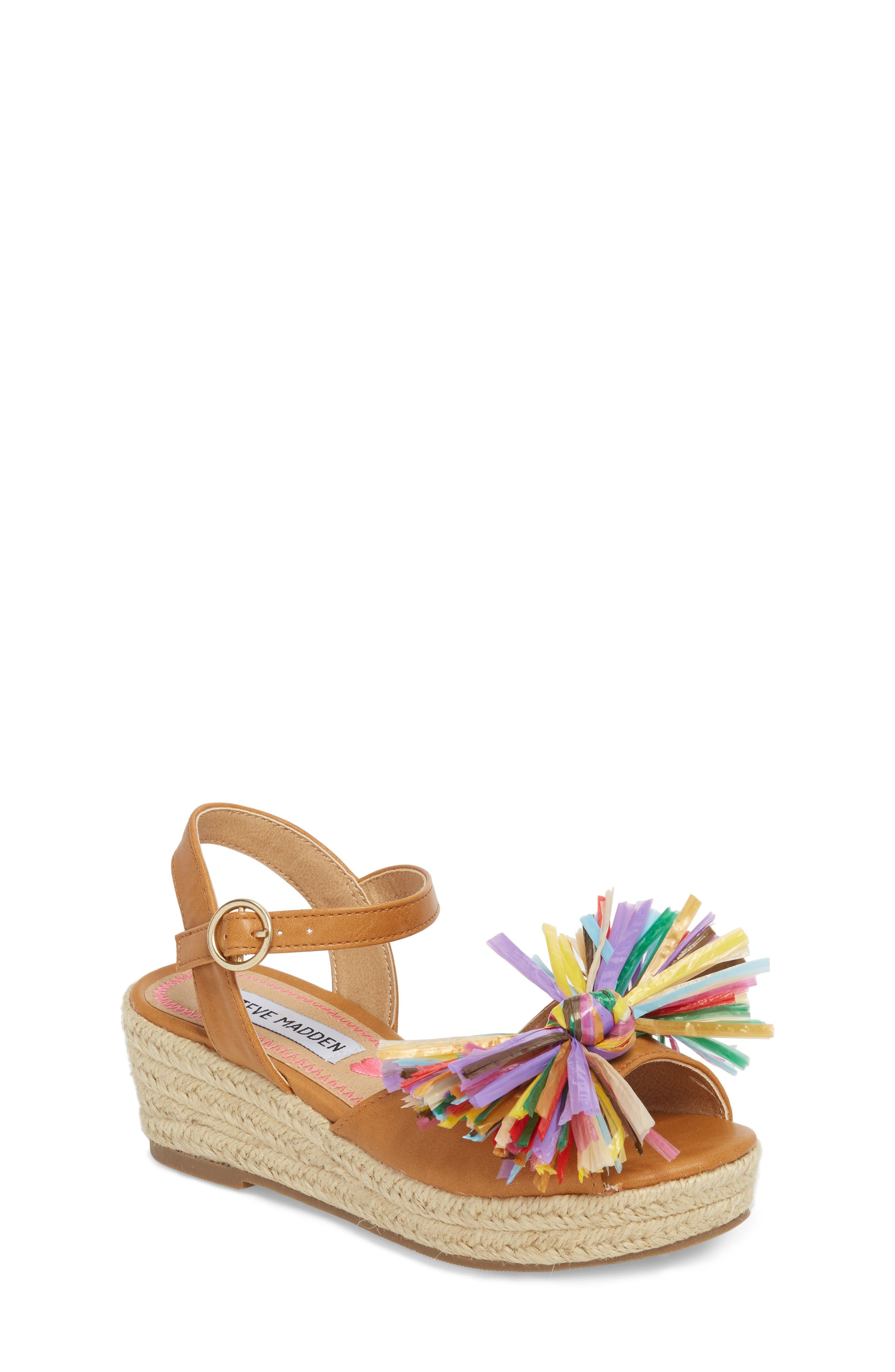 JSTRWBERI Wedge Sandal,                         Main,                         color, Cognac Multi