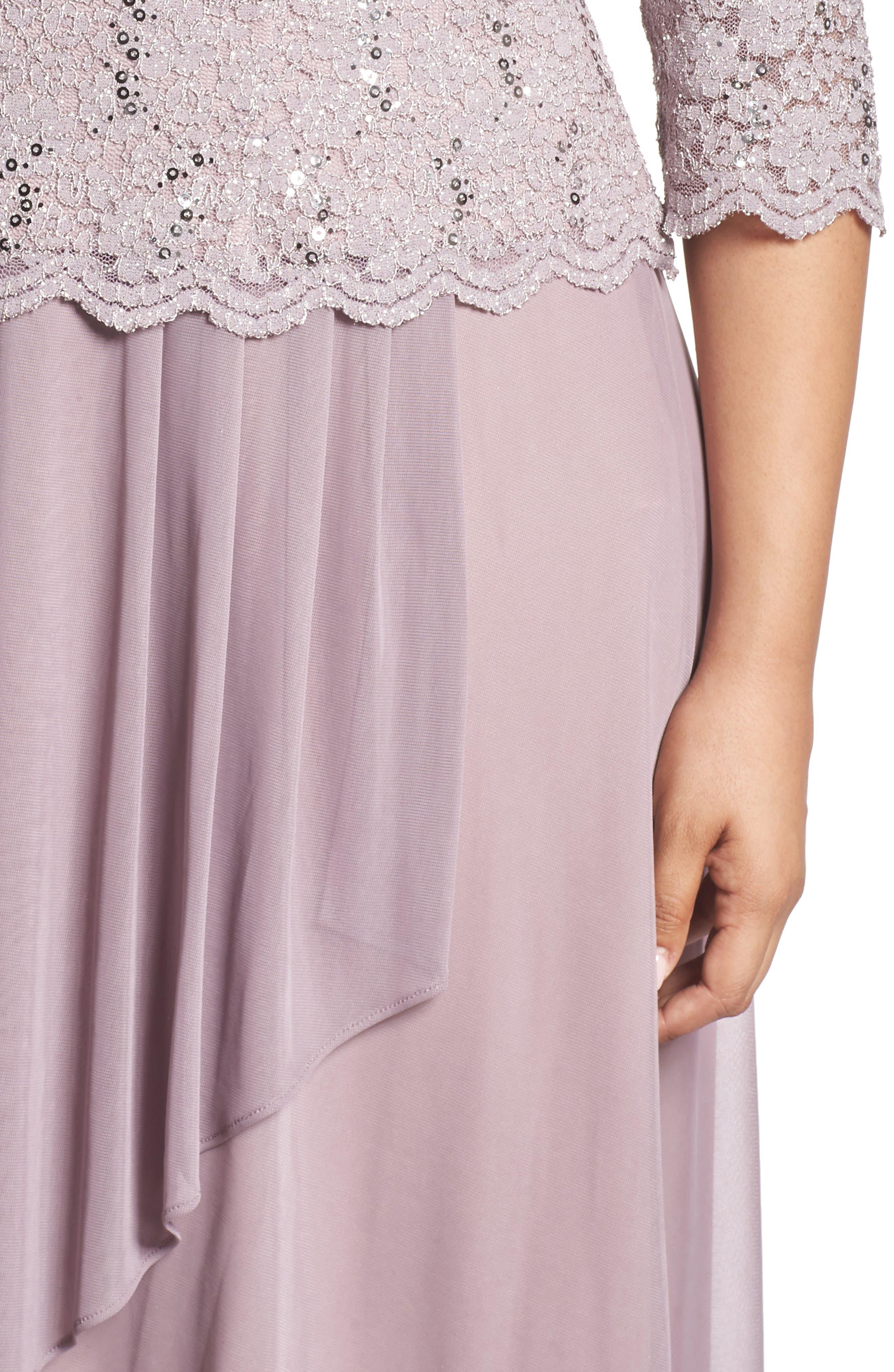 Tea Length Lace & Chiffon Mock Two-Piece Dress,                             Alternate thumbnail 4, color,                             Rose