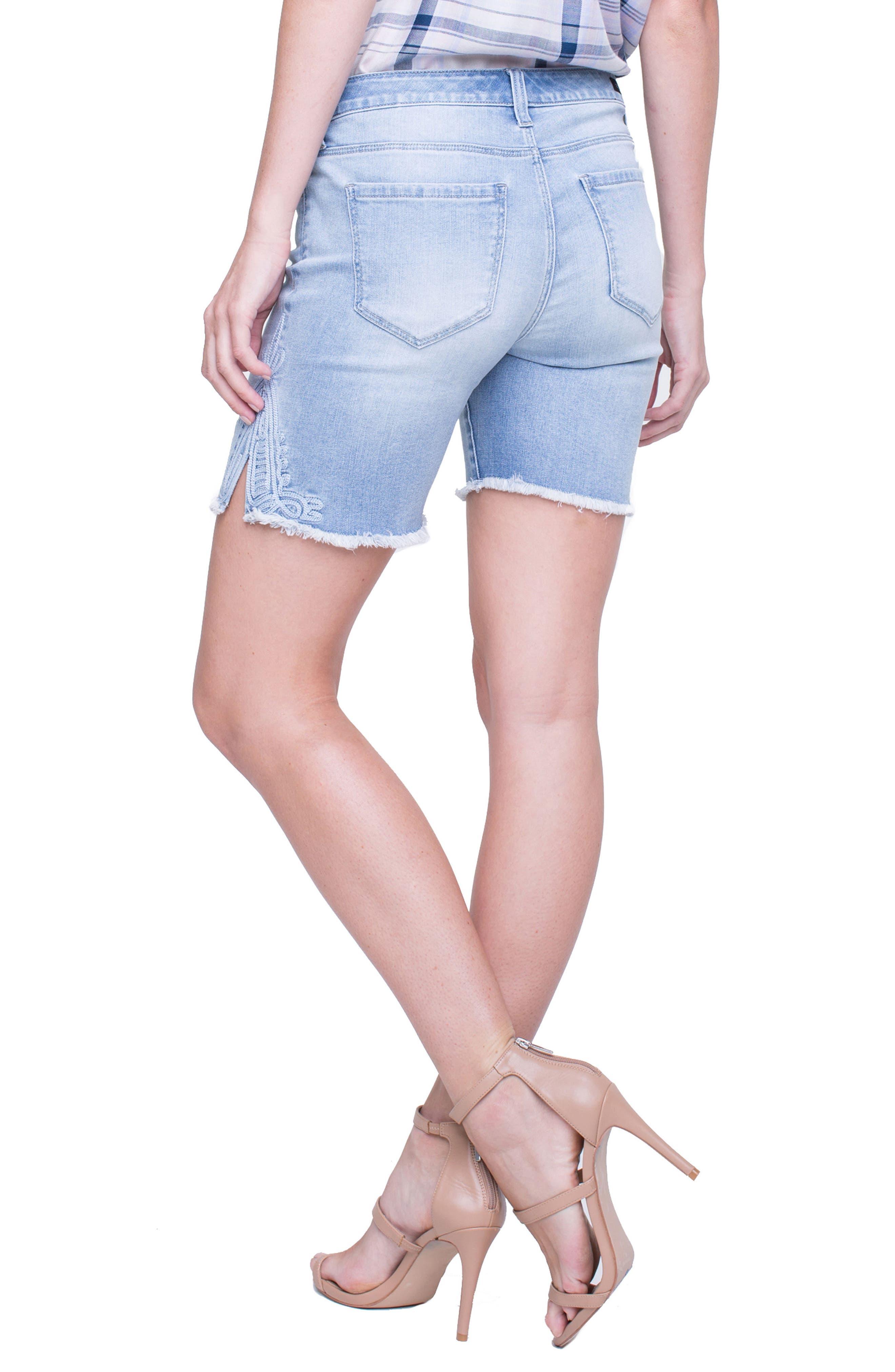 Corine Embroidered Side Slit Denim Shorts,                             Alternate thumbnail 2, color,                             Winstin