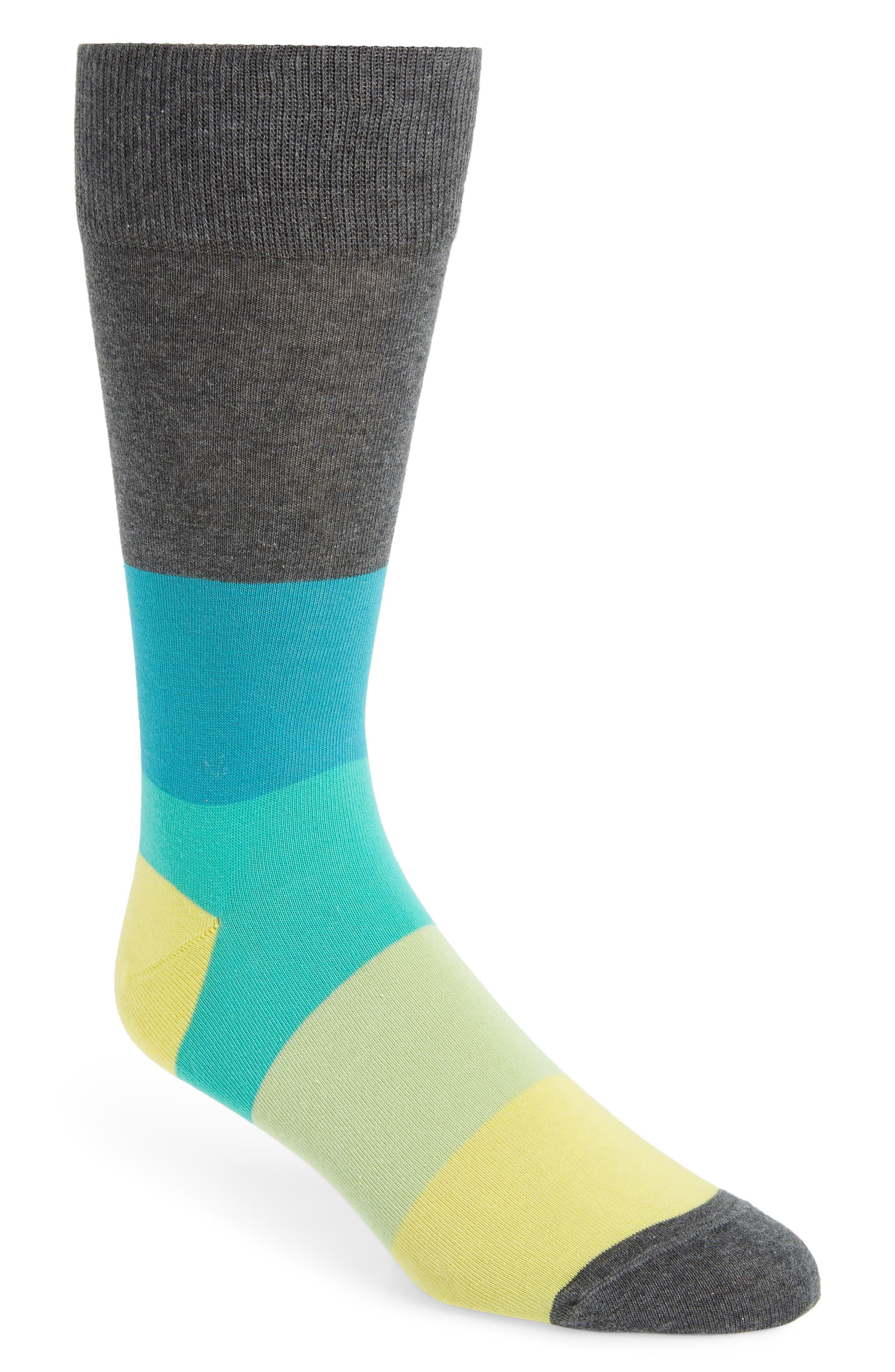 Blocked Ombré Socks,                             Main thumbnail 1, color,                             Charcoal/ Yellow