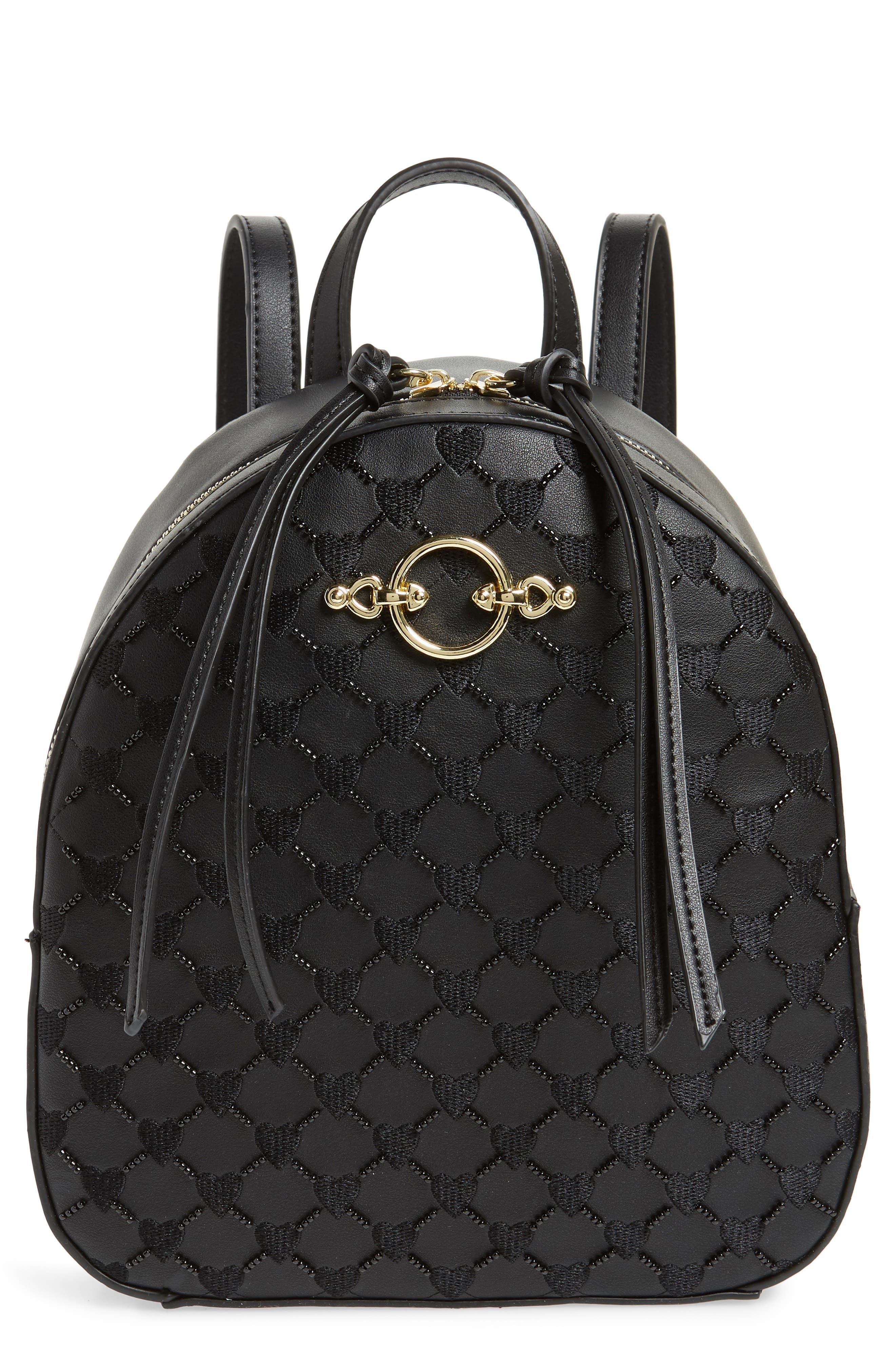 Sweetheart Beaded Backpack,                         Main,                         color, Black