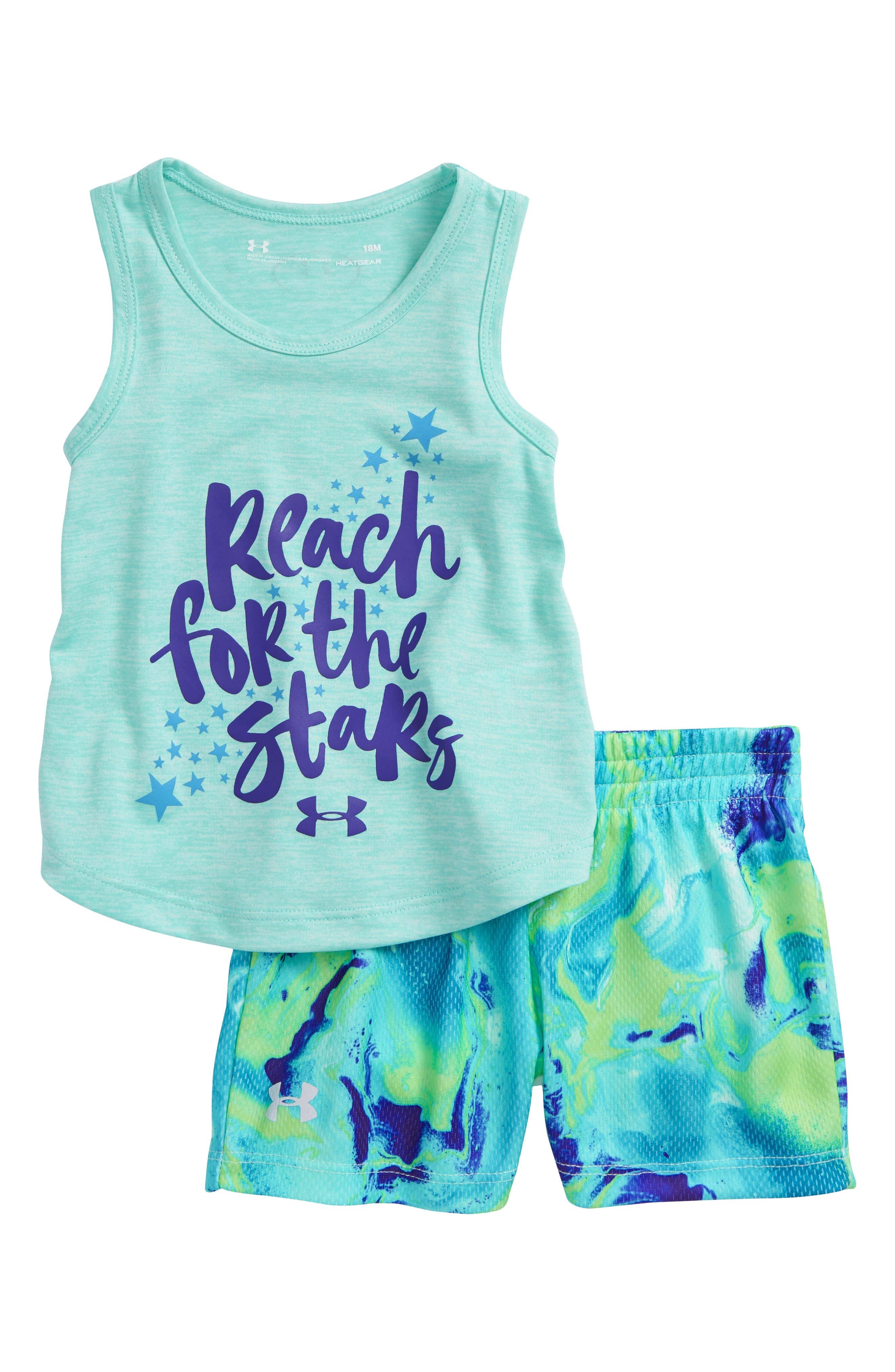 Reach for the Stars HeatGear<sup>®</sup> Tank & Mesh Shorts Set,                         Main,                         color, Blue Infinity