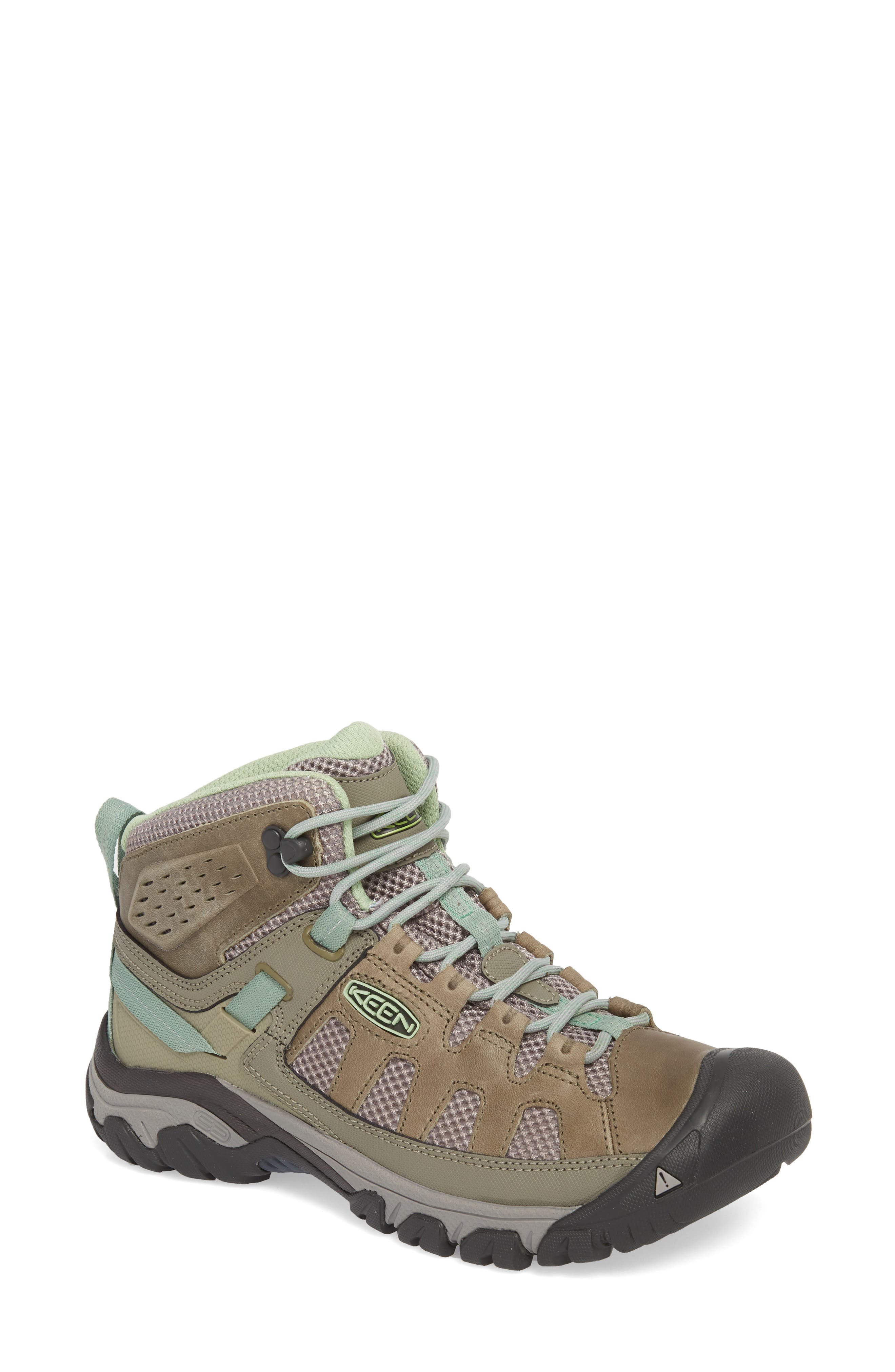 Targhee Vent Mid Hiking Shoe,                         Main,                         color, Fumo/ Quiet Green Leather