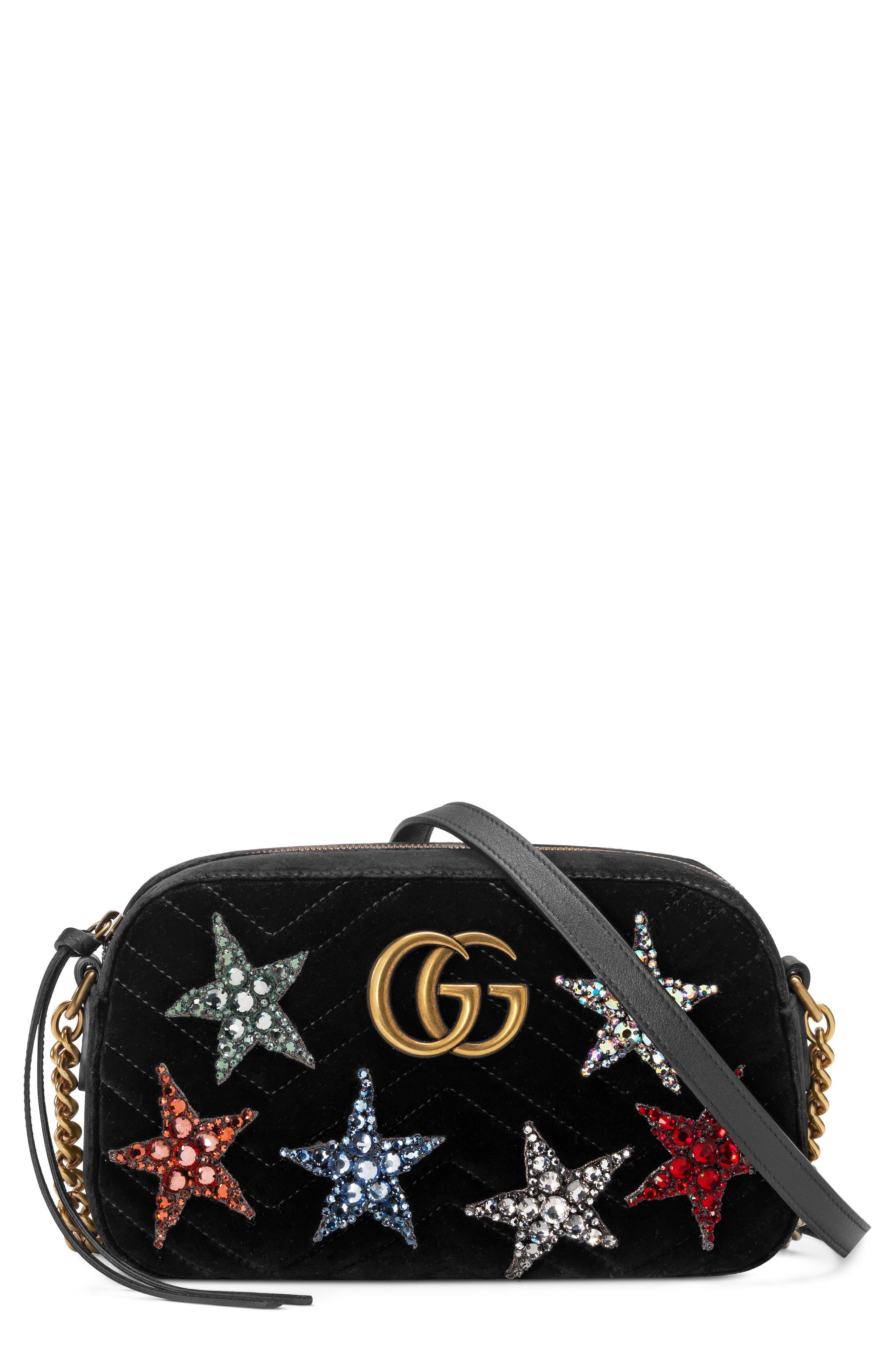 Small GG Marmont 2.0 Crystal Stars Velvet Shoulder Bag,                             Main thumbnail 1, color,                             Nero/ Nero Multi