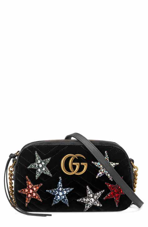 Gucci Small GG Marmont 2.0 Crystal Stars Velvet Shoulder Bag