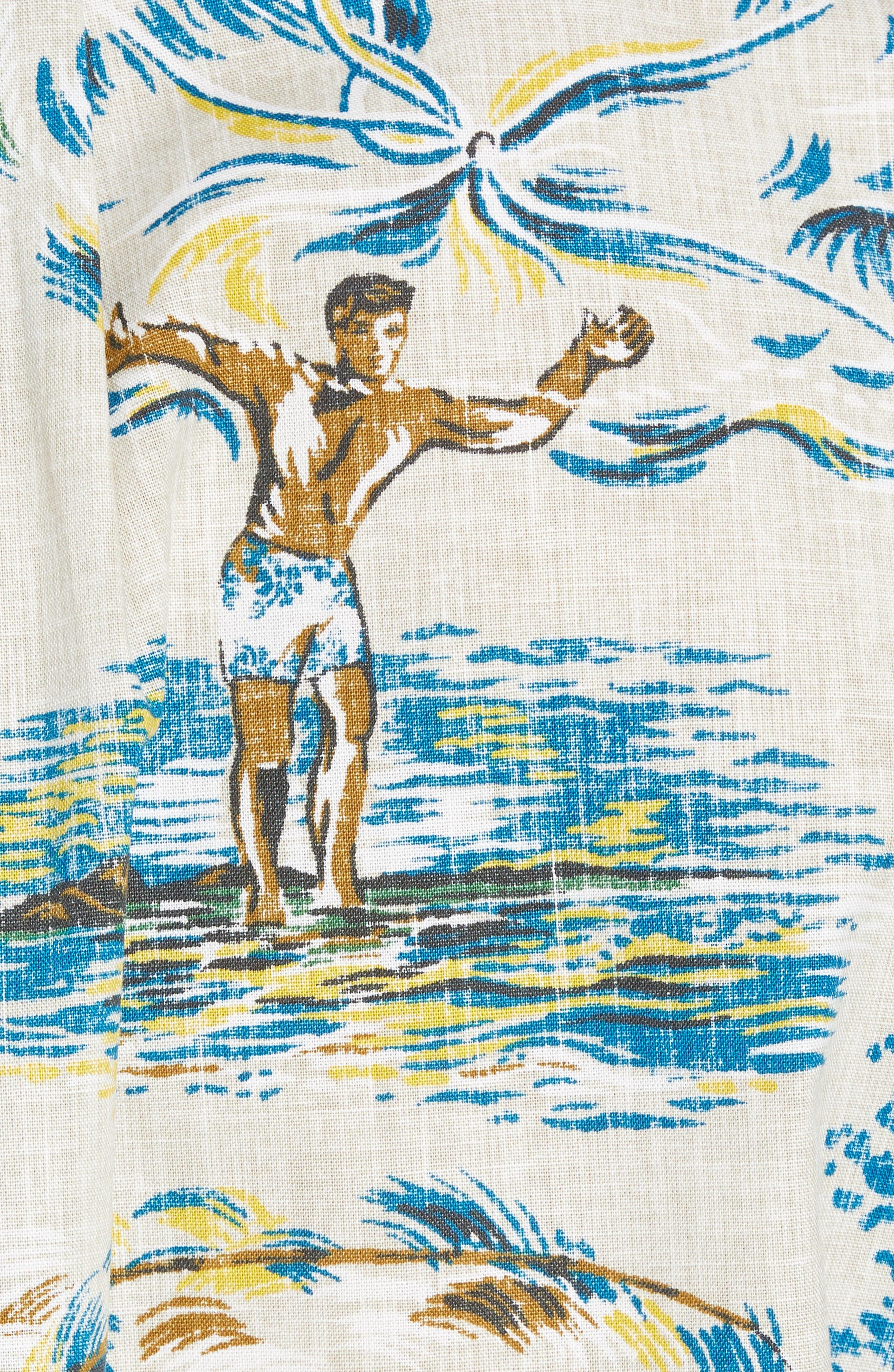 Moana Medley Classic Fit Print Sport Shirt,                             Alternate thumbnail 5, color,                             Chalk