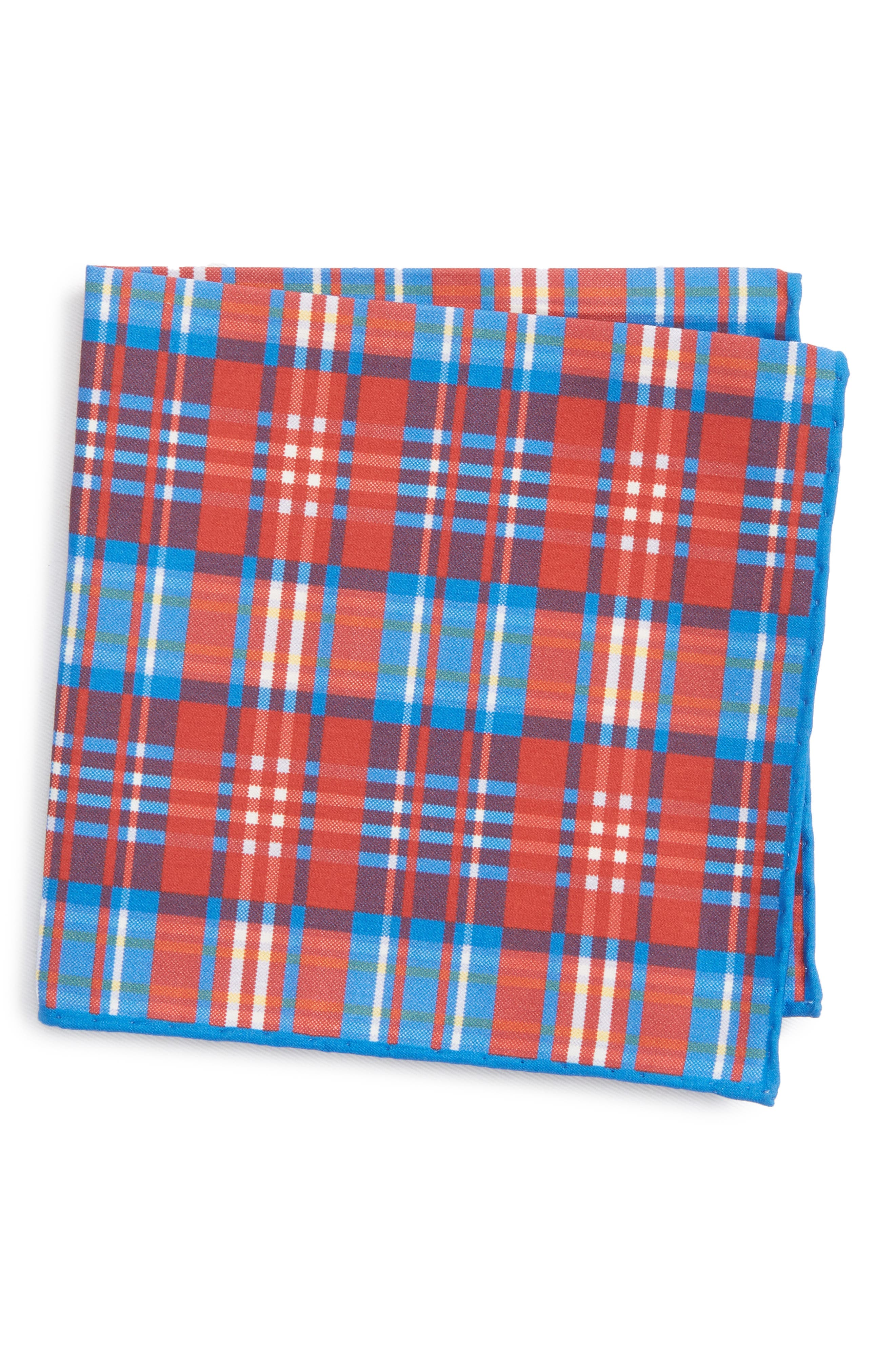 Plaid Cotton & Silk Pocket Square,                         Main,                         color, Red