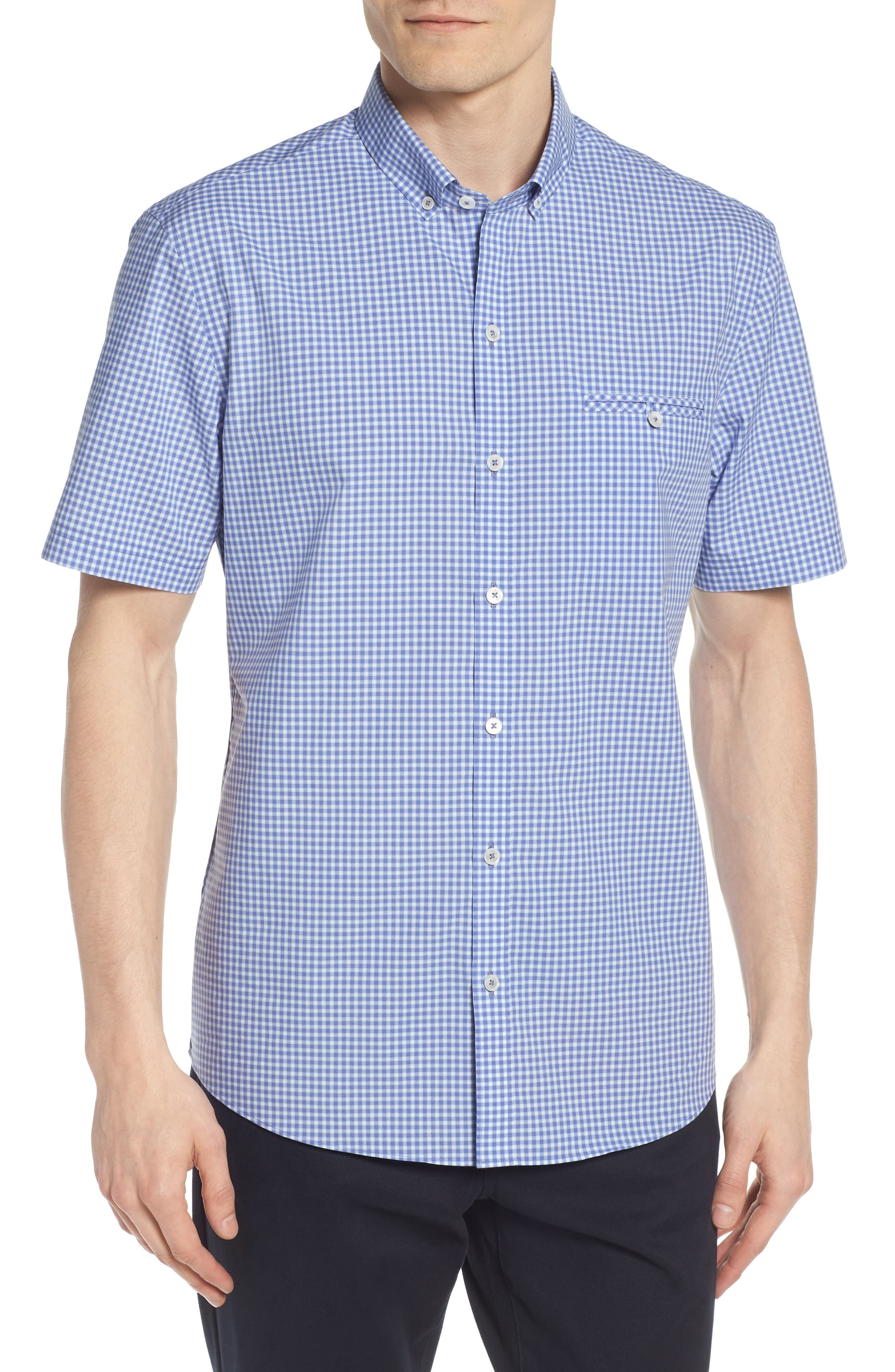 Giovinco Plaid Sport Shirt,                         Main,                         color, Ocean