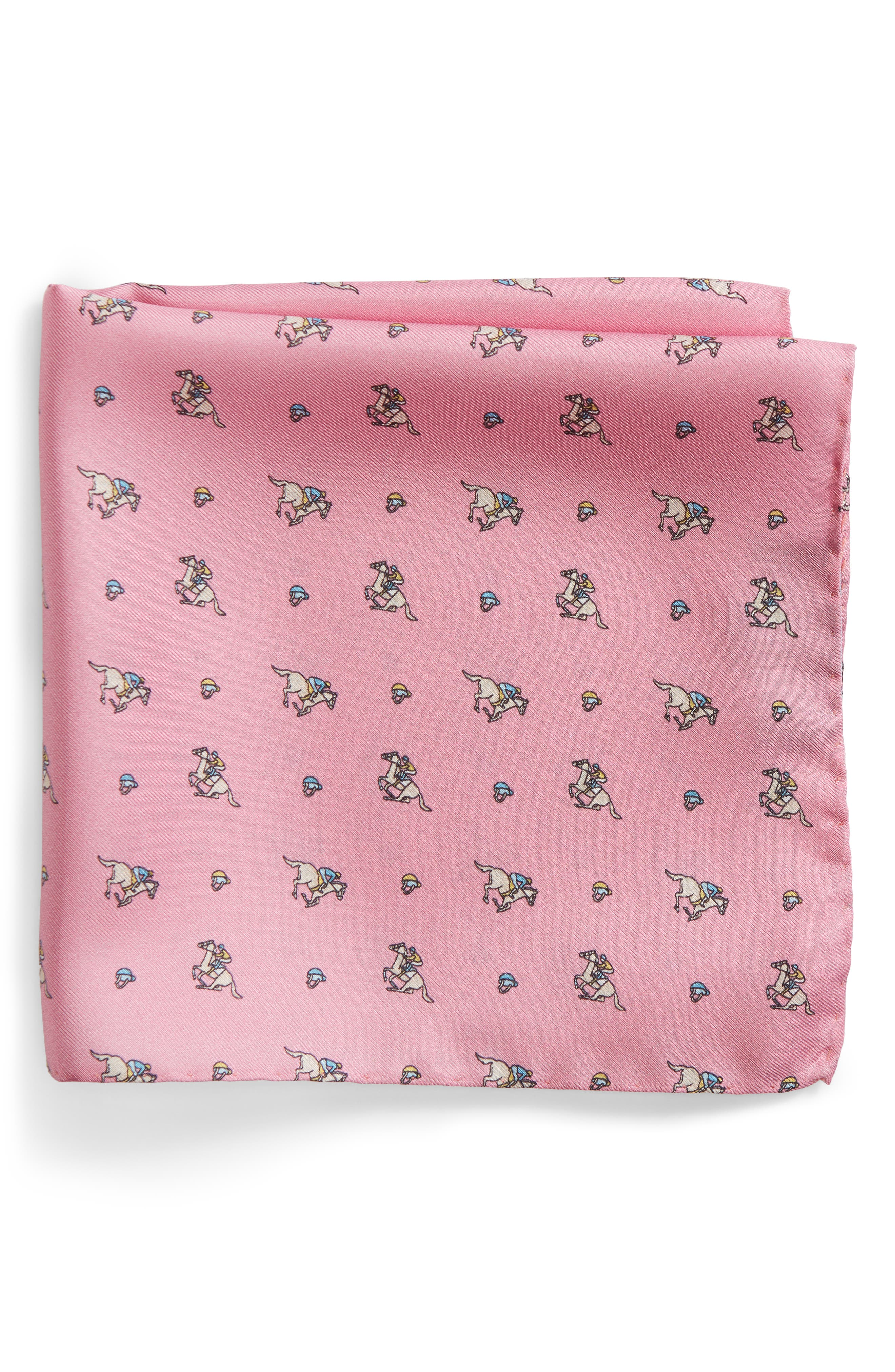 Riding Derby Silk Pocket Square,                         Main,                         color, Pink