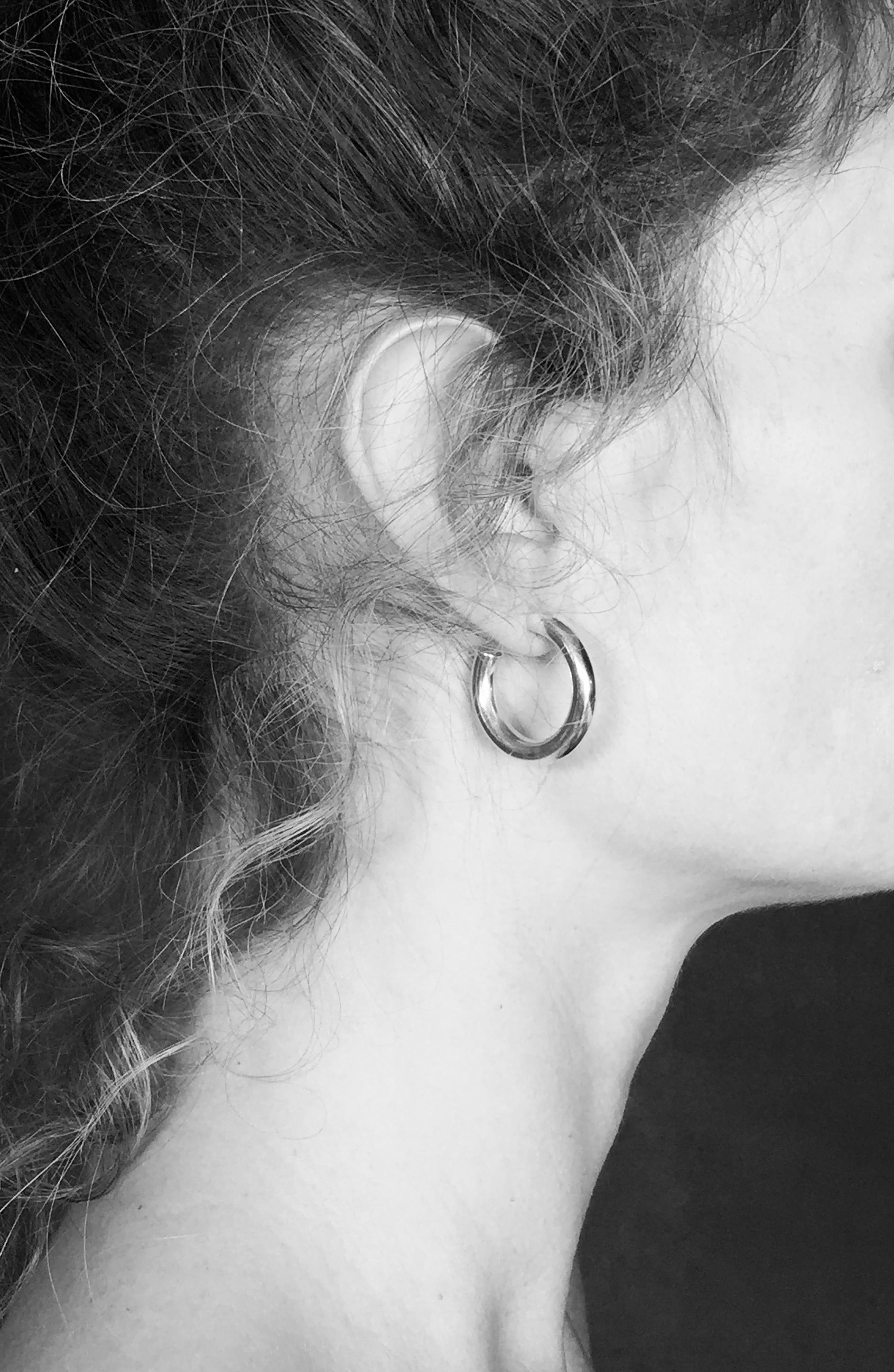 Small Everyday Sterling Silver Hoop Earrings,                             Alternate thumbnail 2, color,                             Silver